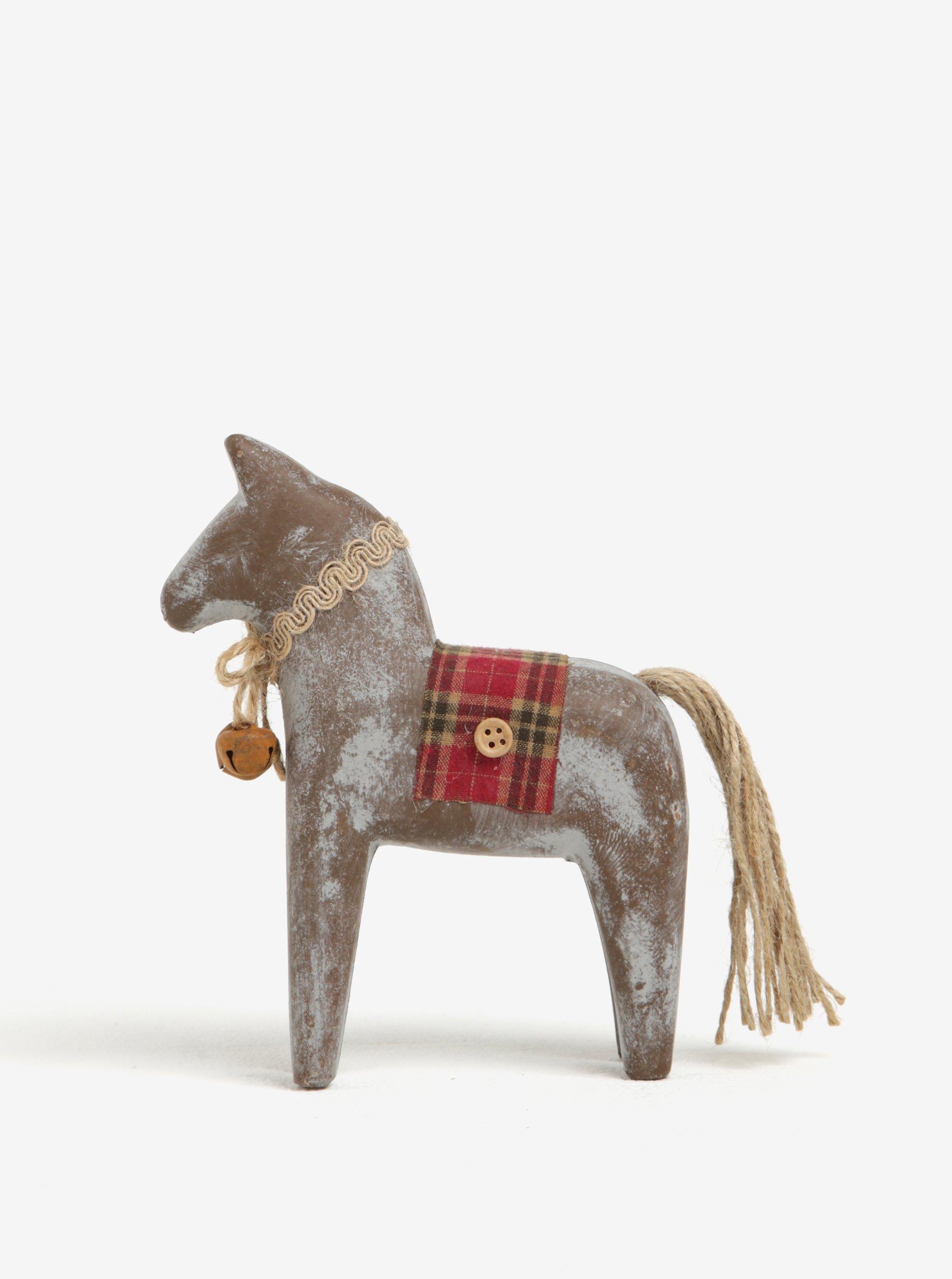 Hnědá dřevěná dekorace ve tvaru koně Dakls