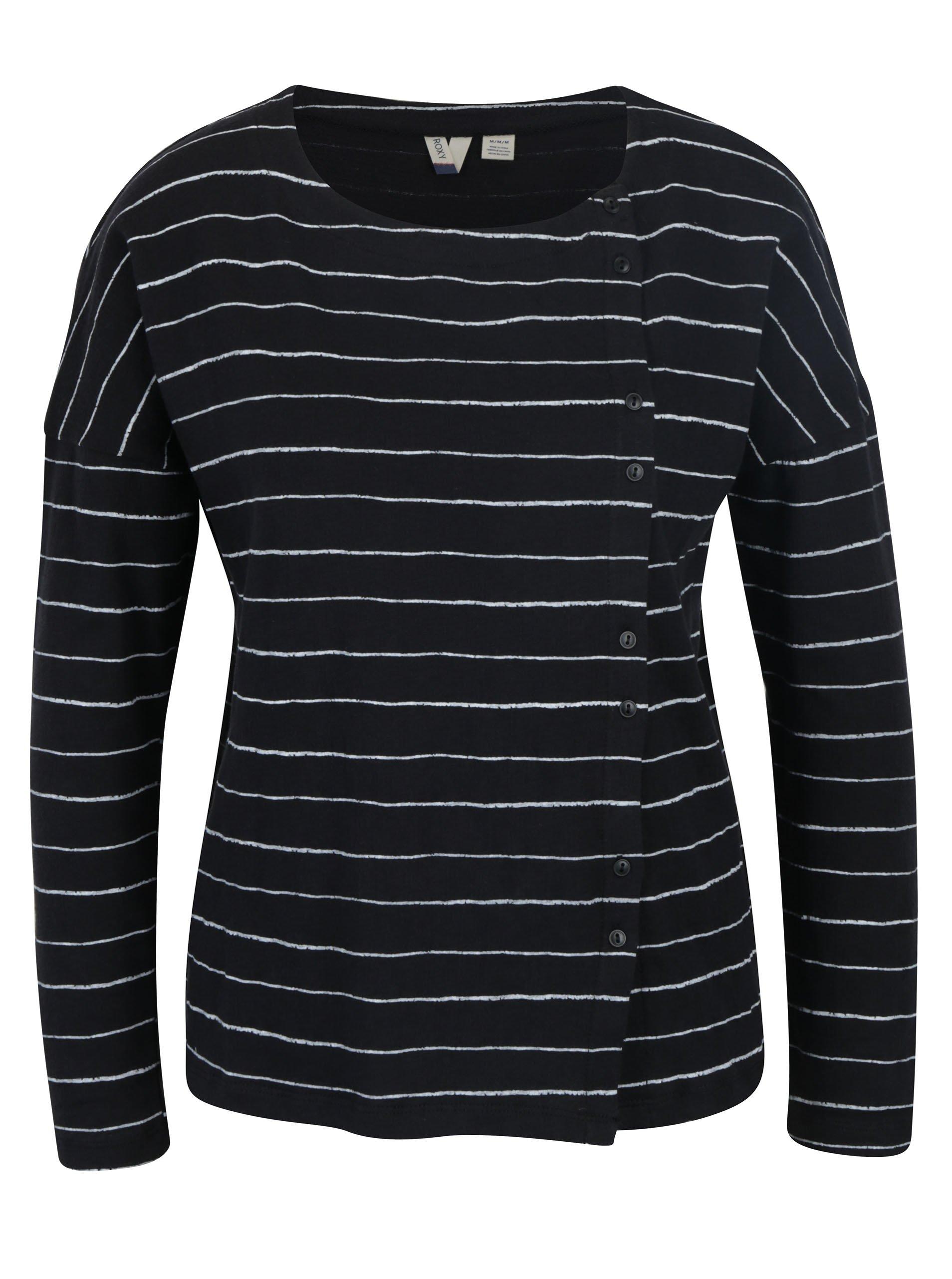 Černo-bílé dámské pruhované tričko Roxy Dream Taste