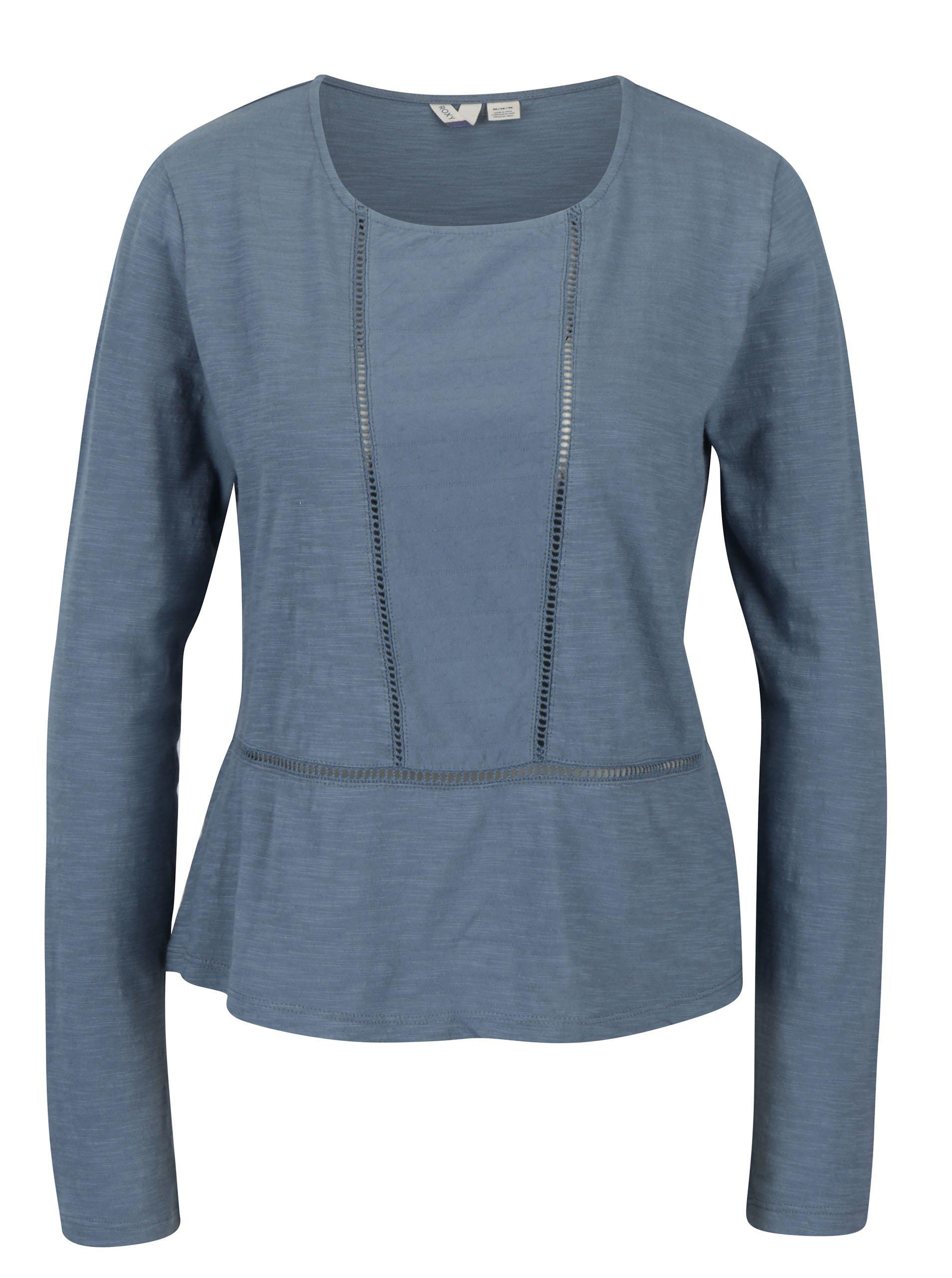 Modré dámské tričko s děrovanými detaily Roxy We Make Together