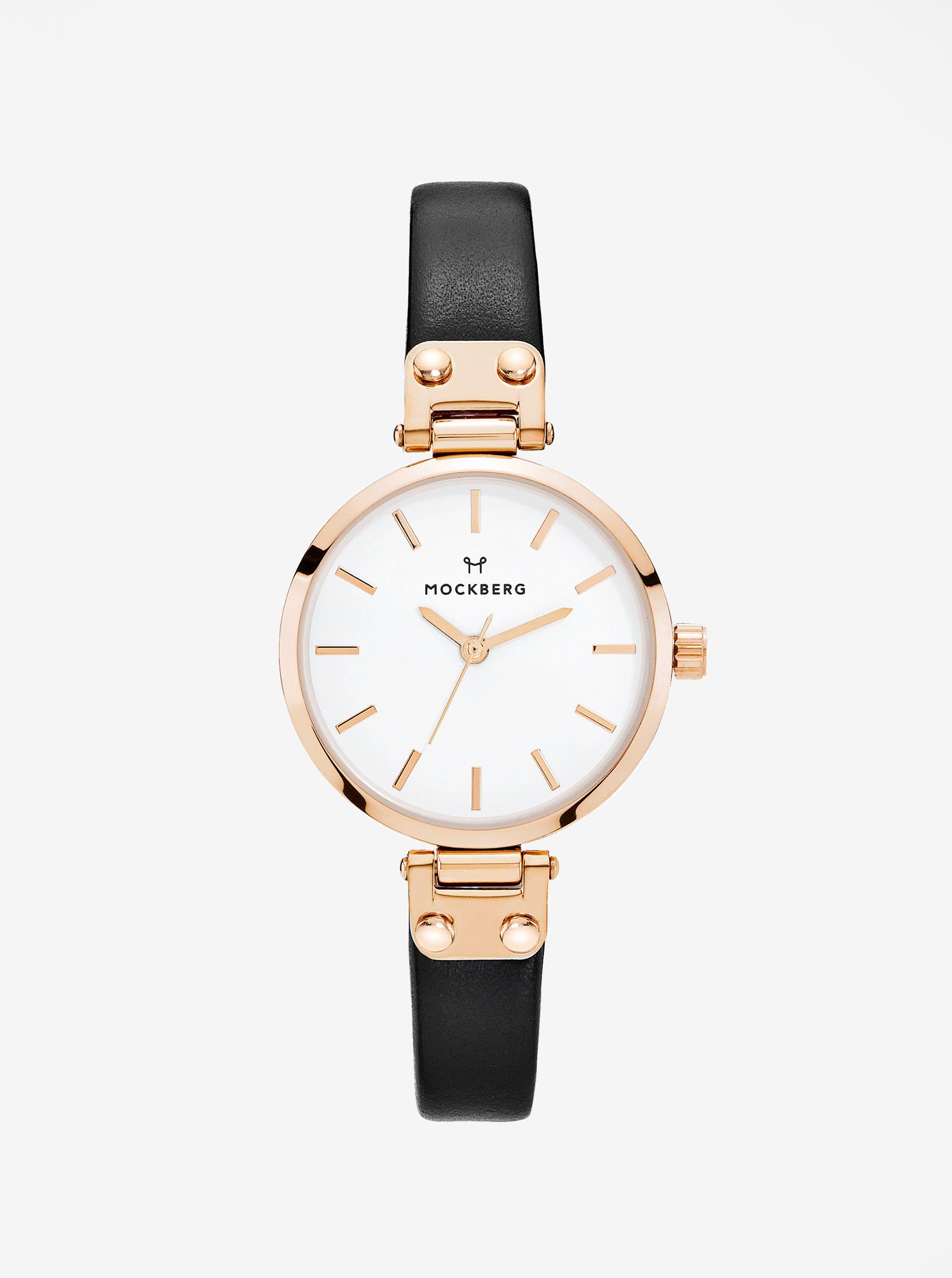 Dámské hodinky v růžovozlaté barvě s černým koženým páskem MOCKBERG Sigrid  petite e3386c985b