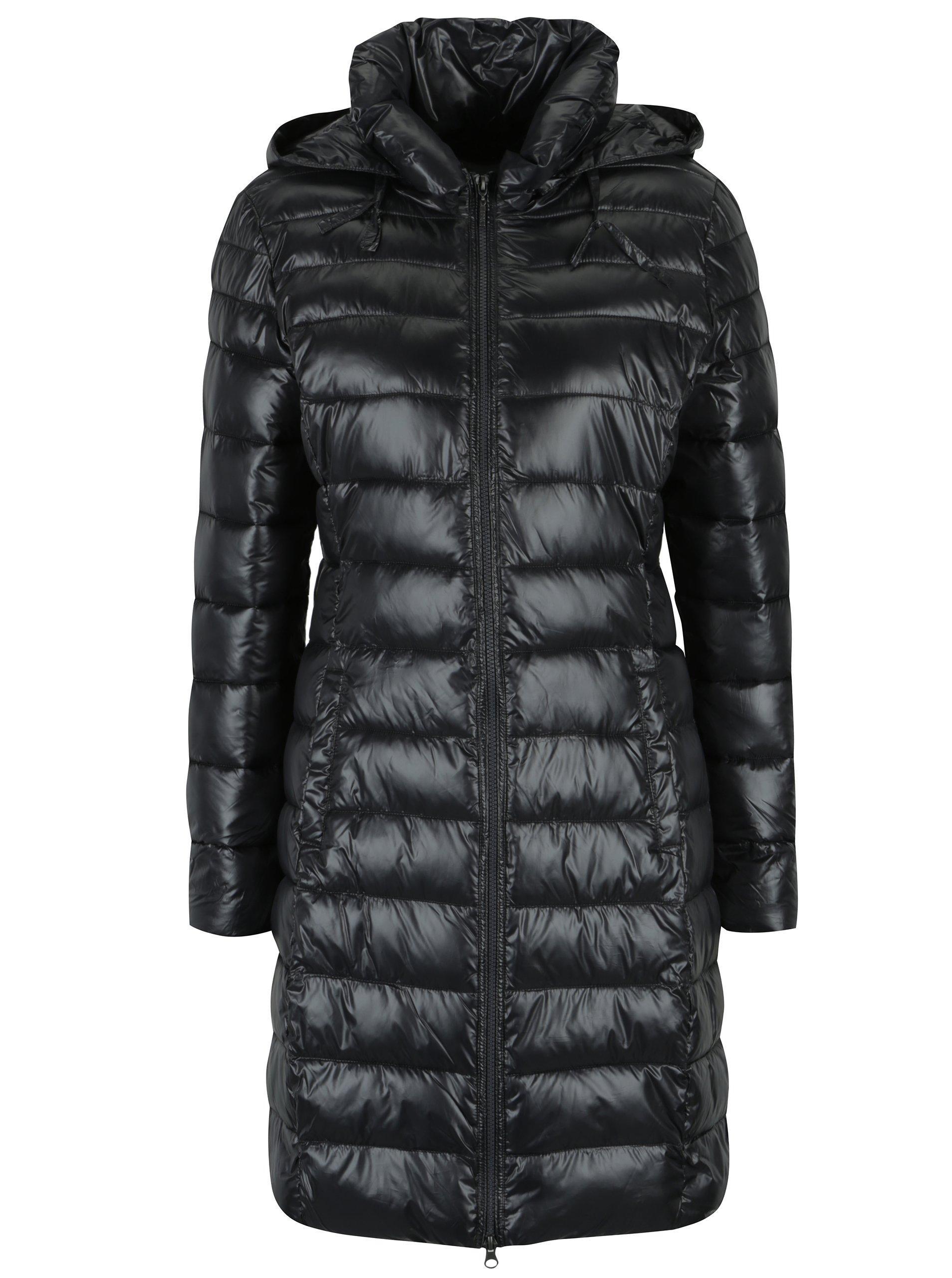 Tmavě šedý prošívaný kabát s kapucí Yest
