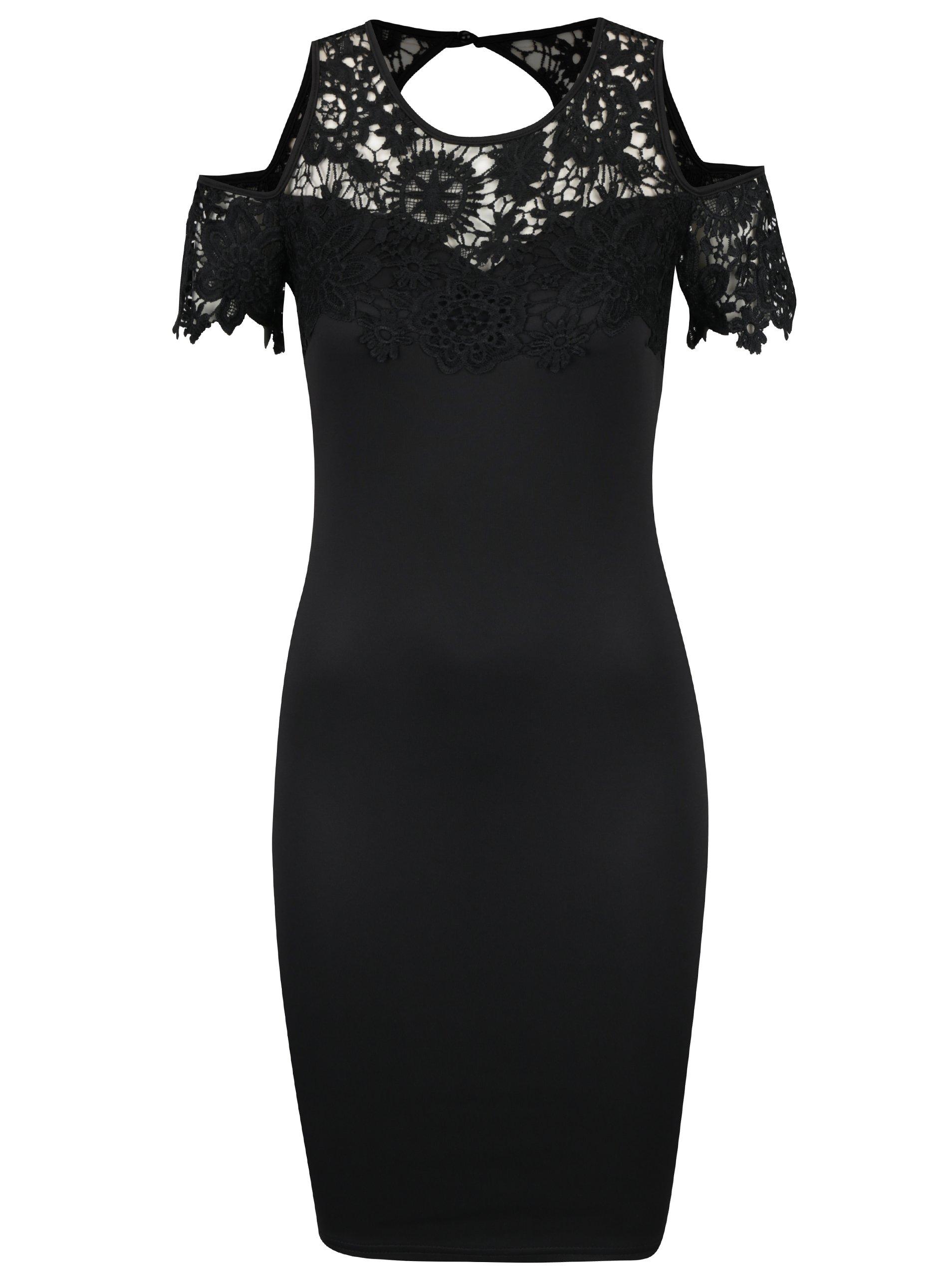 b05a34df2f80 Čierne puzdrové šaty s prestrihmi na ramenách AX Paris