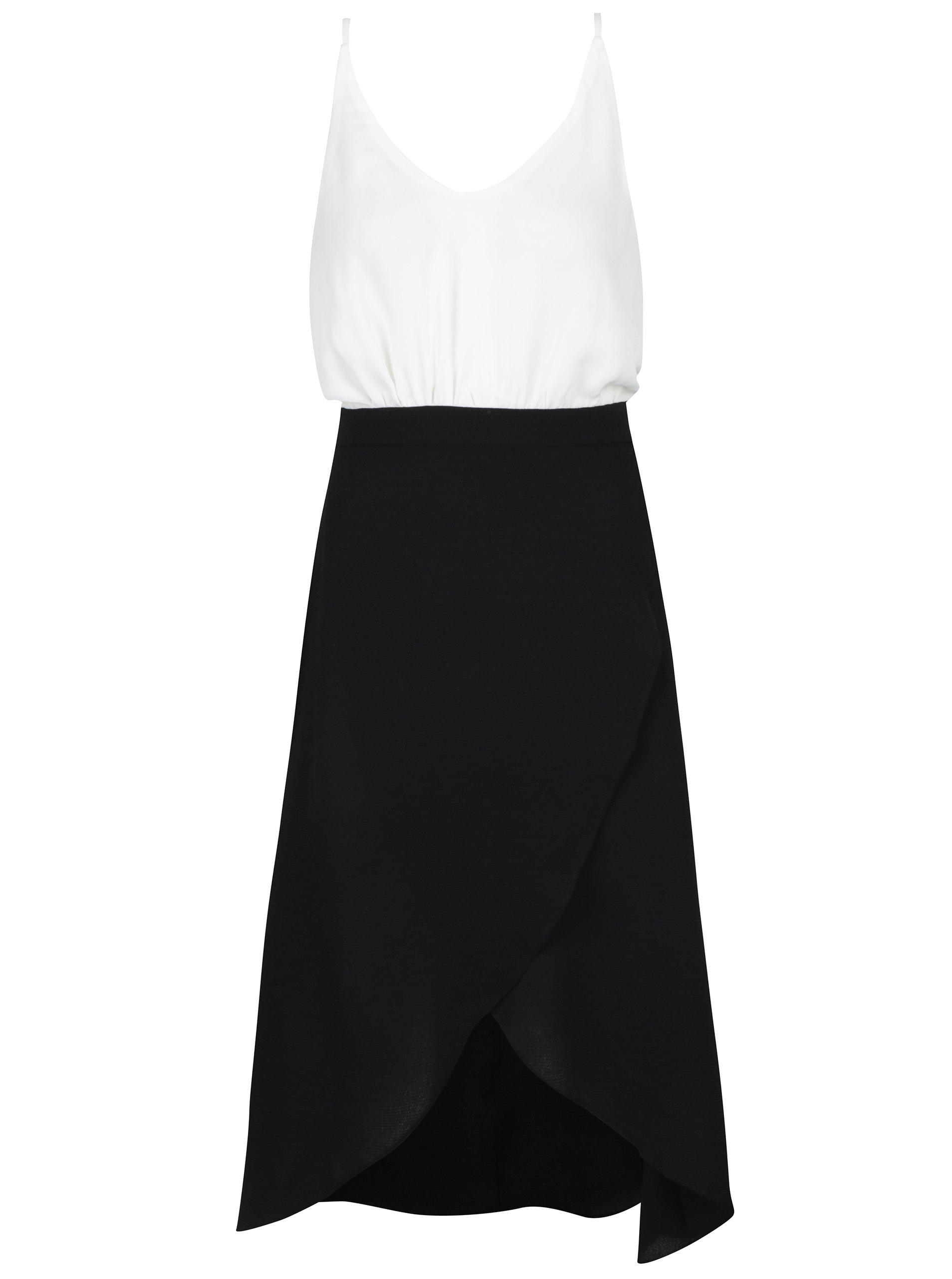 Bielo-čierne šaty s prekladanou sukňou a opaskom AX Paris