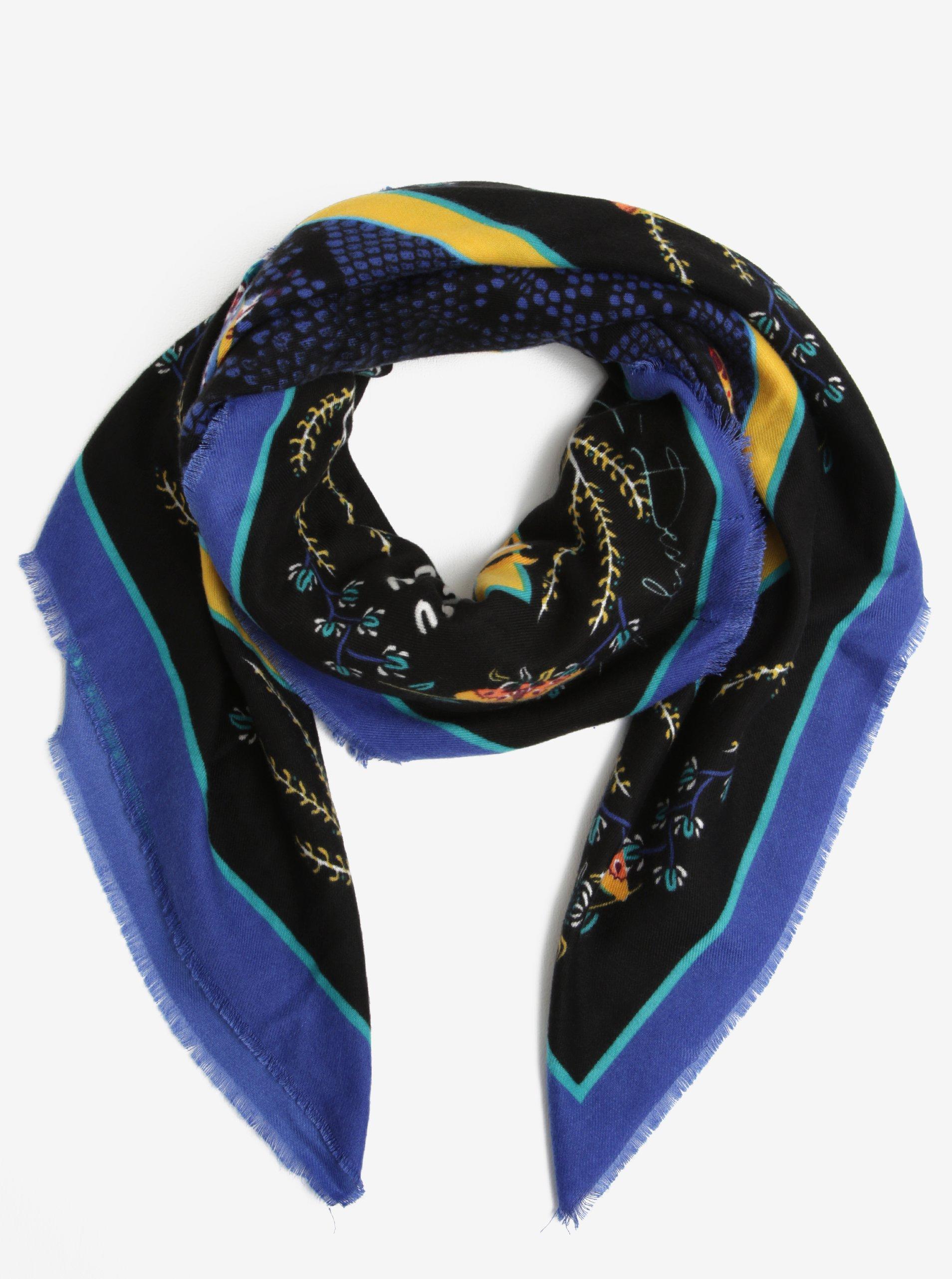 Černý vzorovaný šátek s roztřepenými lemy Desigual Foulard Rectangle 17d2909979