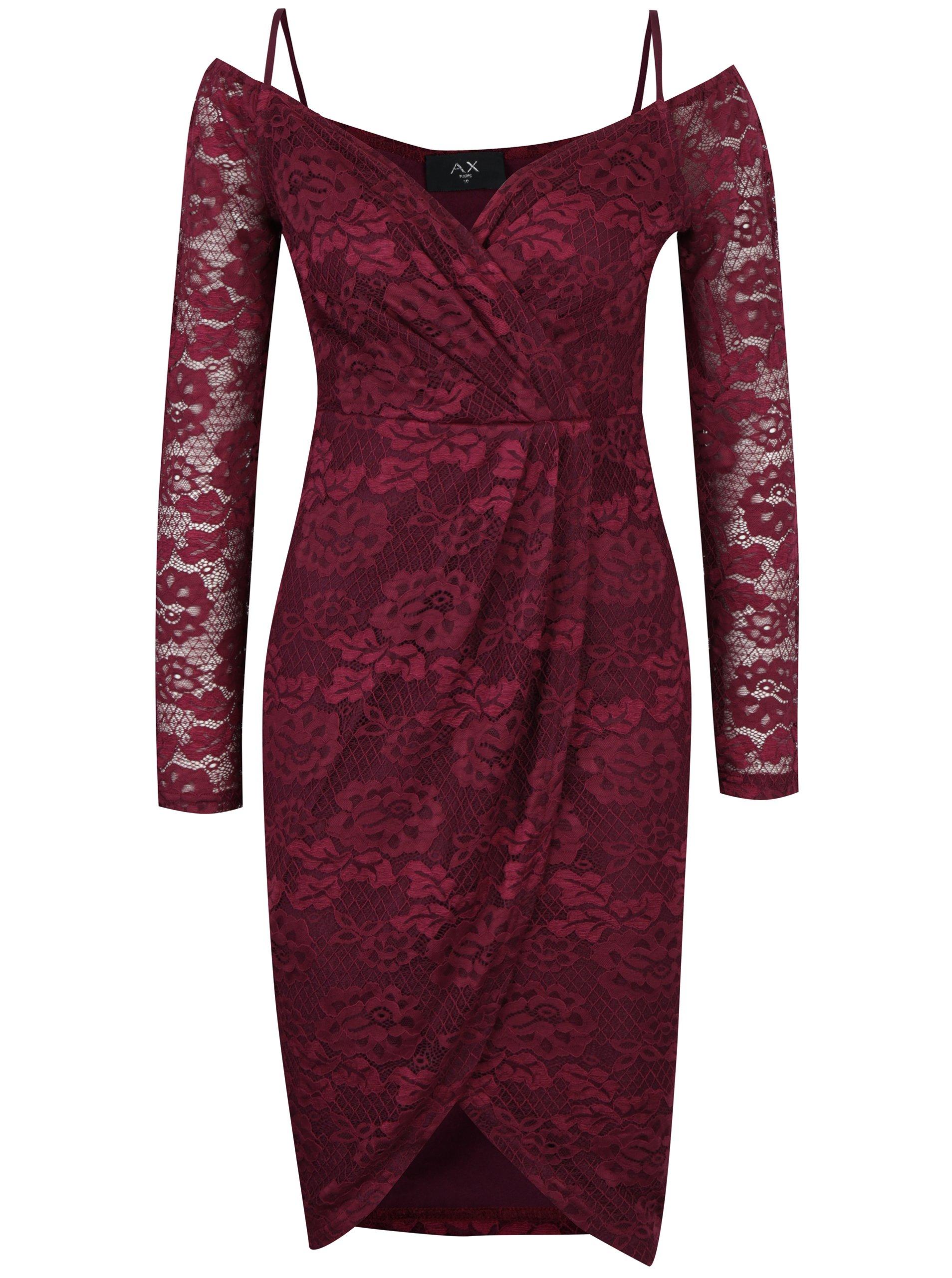 400657cef0ab Fialové čipkované puzdrové šaty AX Paris