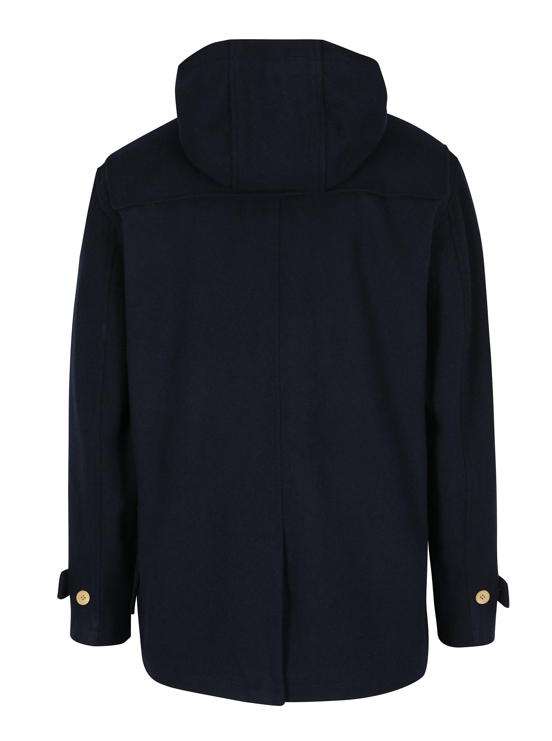 Tmavě modrý pánský vlněný kabát s kapucí Makia Duffle - eleganter.cz 1453605823