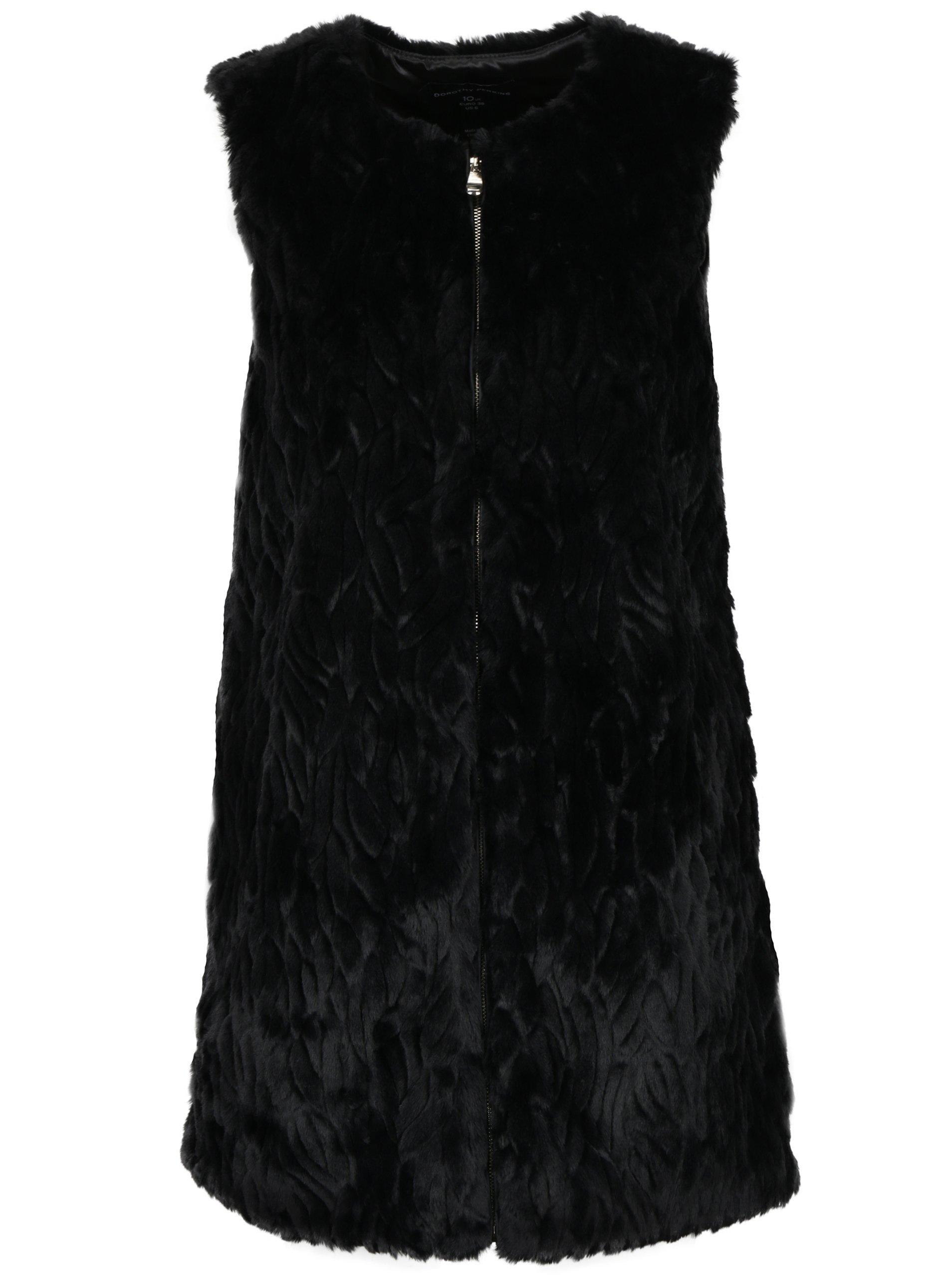 Černá dlouhá vesta z umělé kožešiny Dorothy Perkins