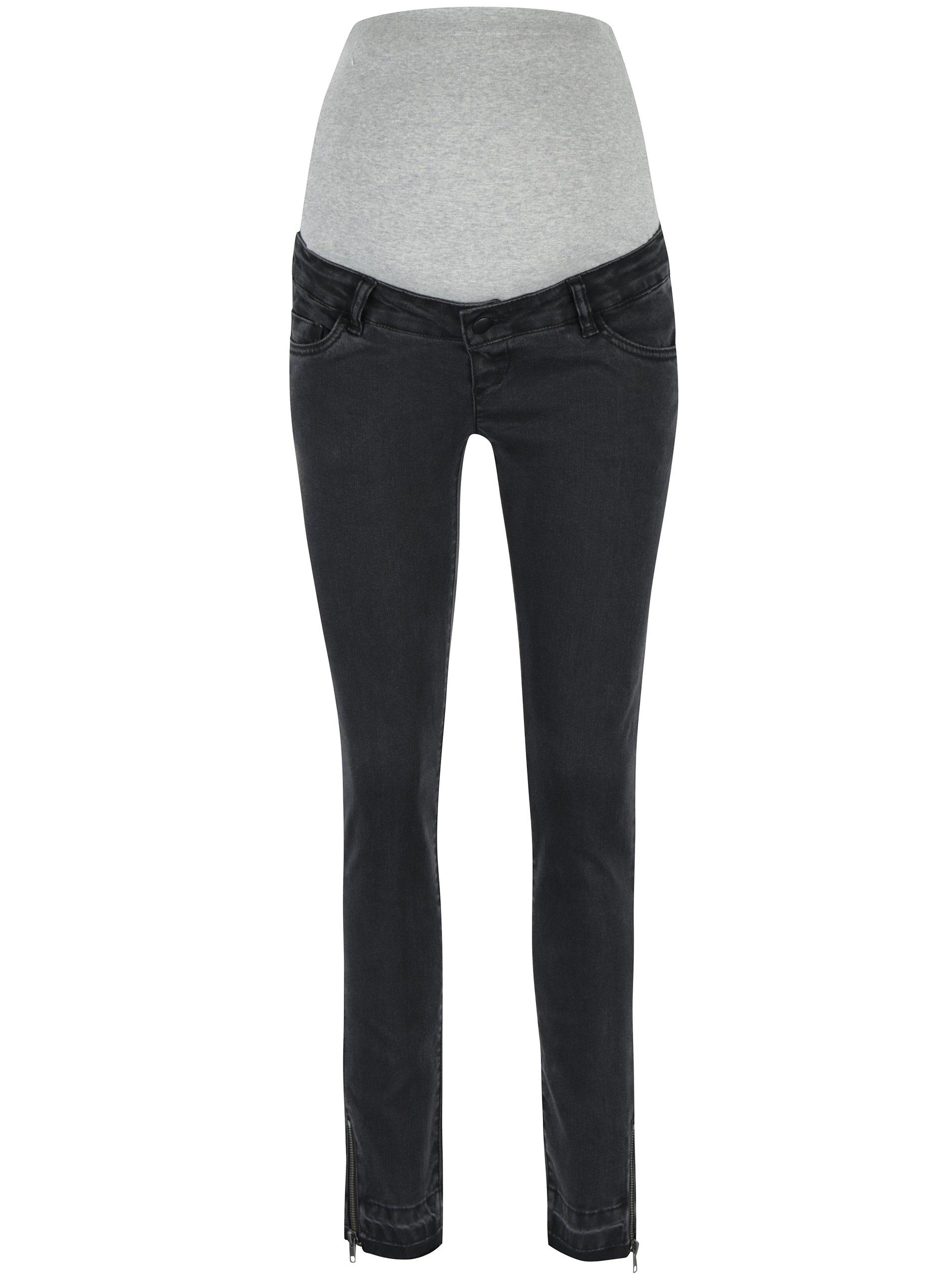 Černé těhotenské džíny se zipem na nohavicích Mama.licious Unita