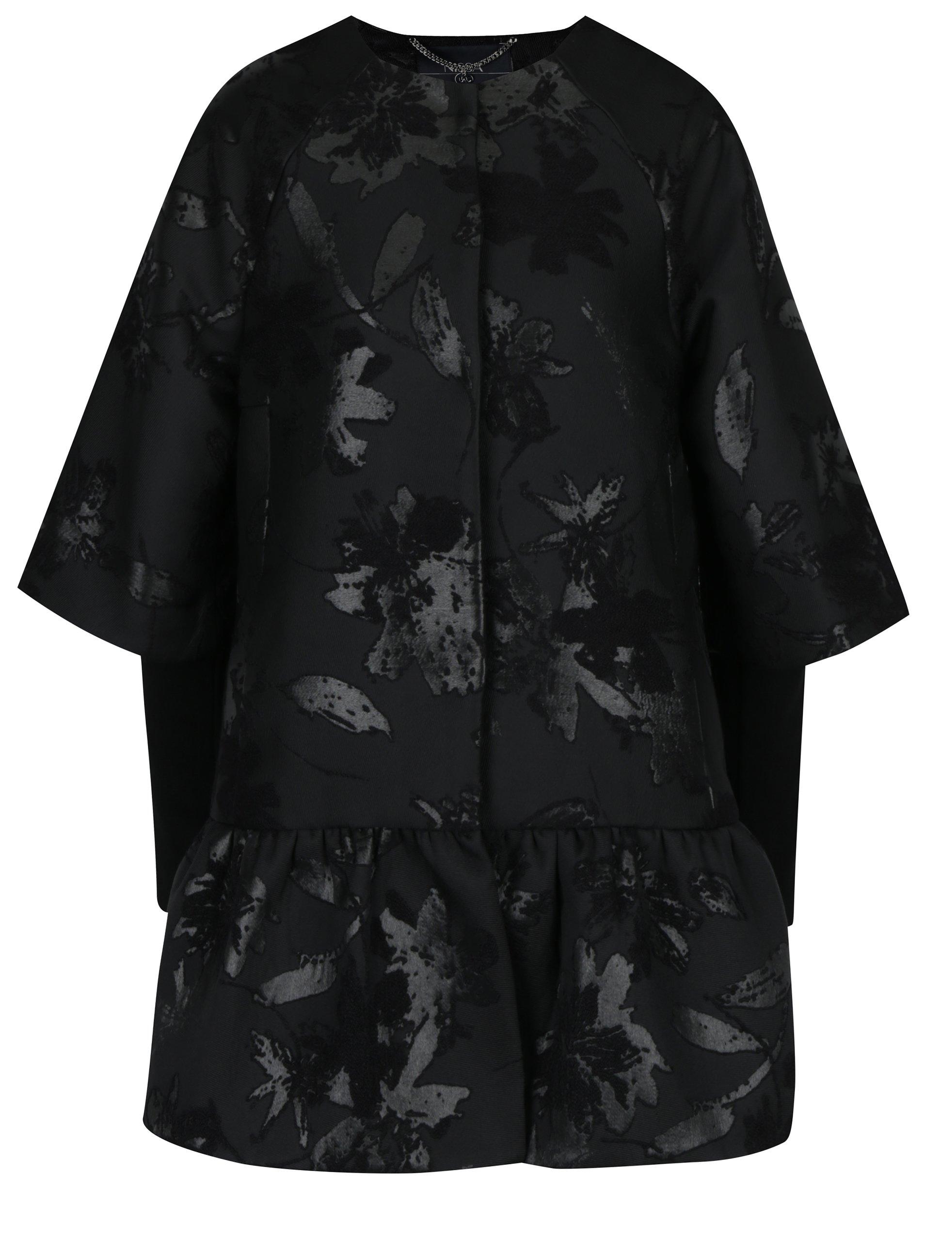 Černý vzorovaný kabát NISSA