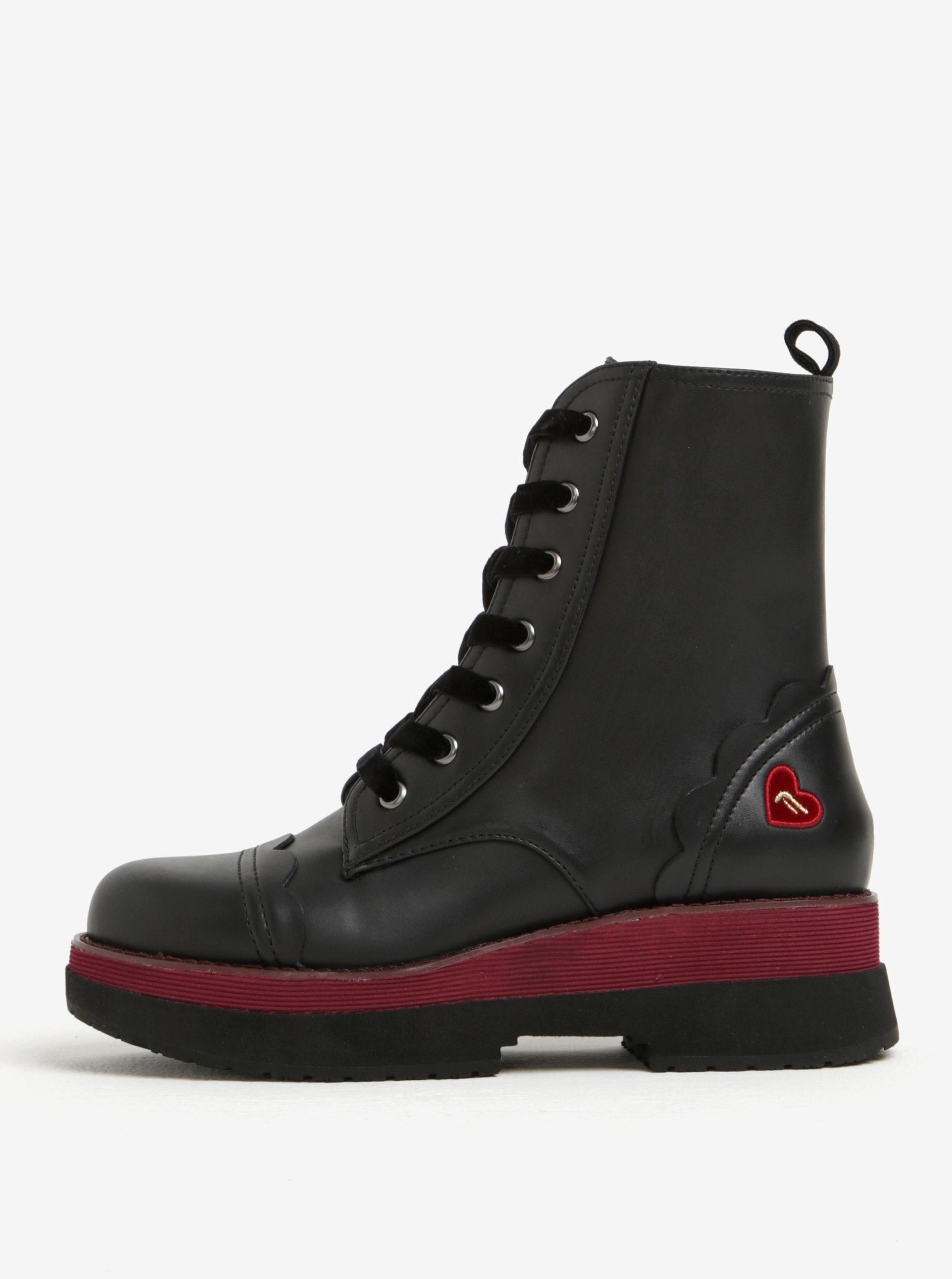 Černé kožené kotníkové boty na platformě Fornarina Carnaby