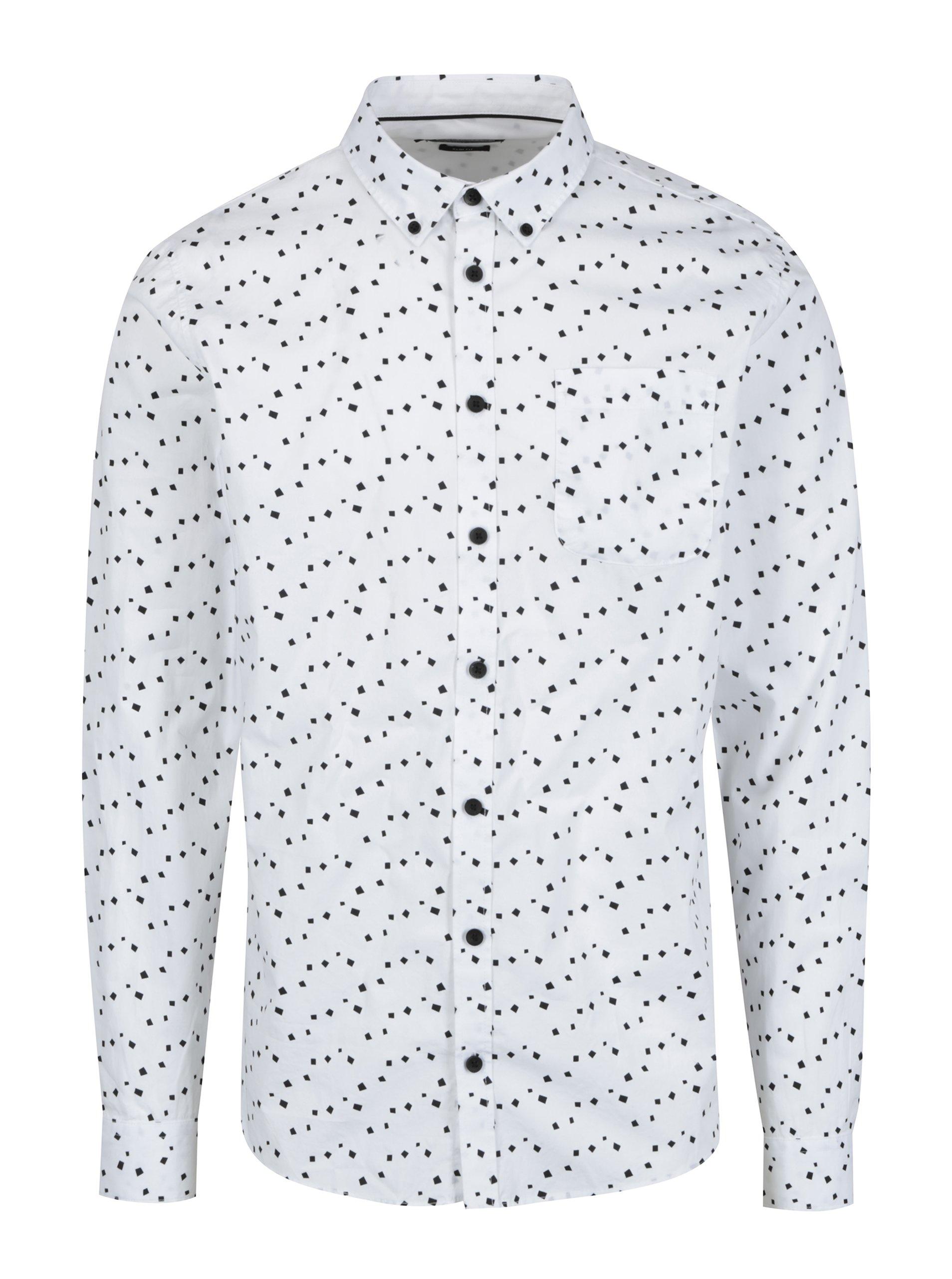 Bílá vzorovaná pánská slim fit košile Casual Friday by Blend