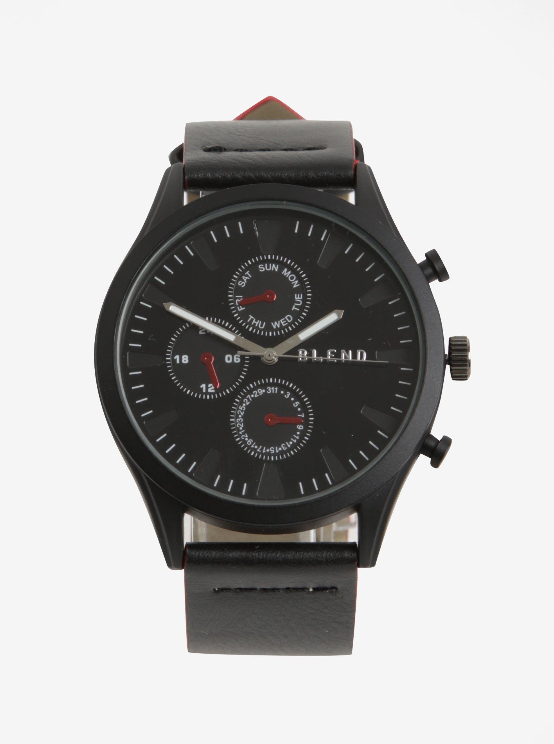 Černé hodinky s červenými detaily Blend