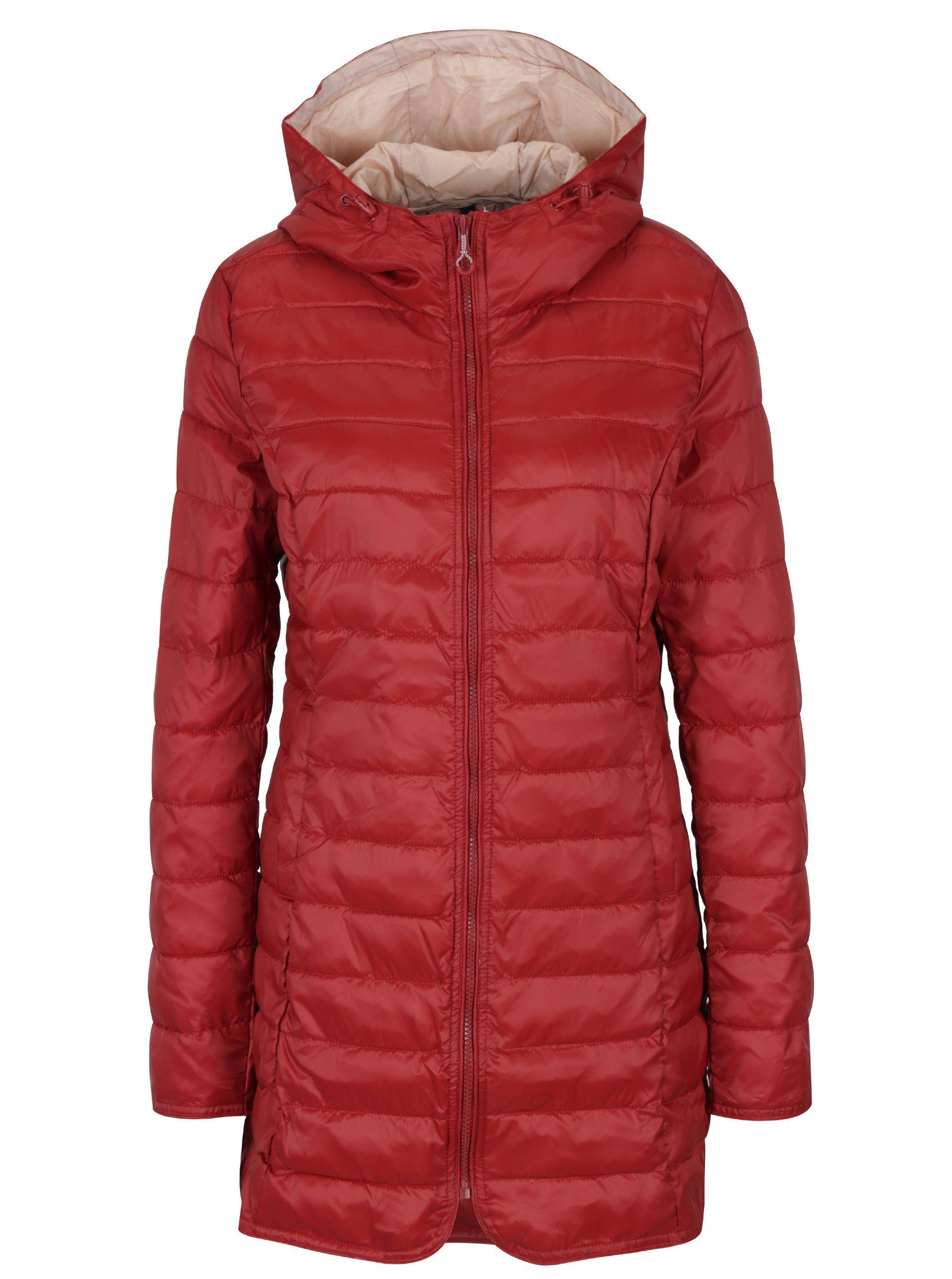 Červený prošívaný kabát s kapucí ONLY Tahoe