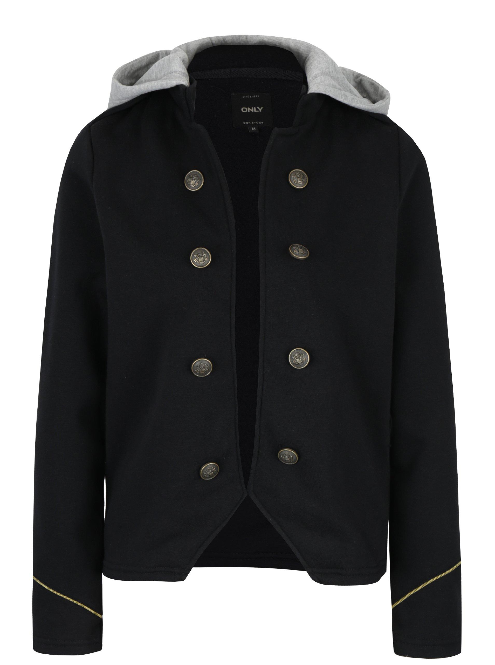 Černé sako s odepínací kapucí ONLY Luna