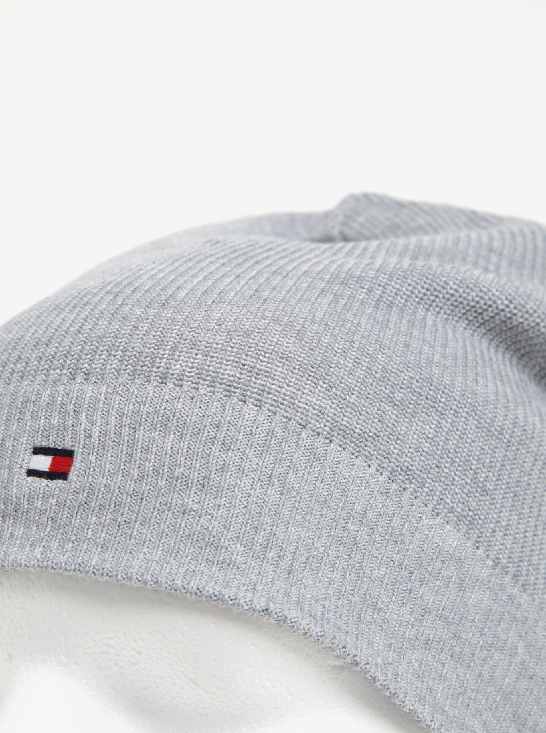 Světle šedá pánská čepice Tommy Hilfiger - Akční cena  8e9a625eb0