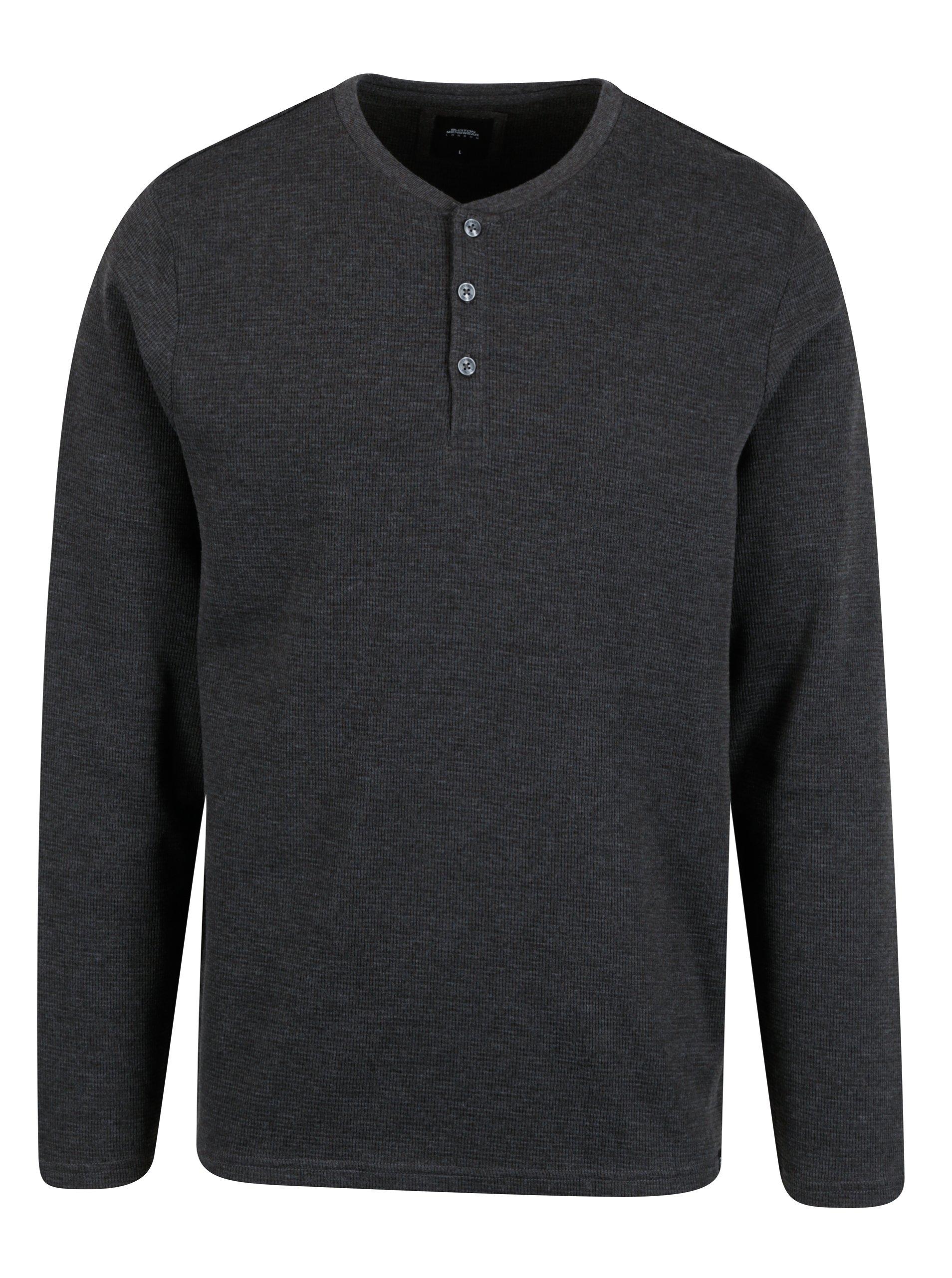 Tmavě šedé tričko s knoflíky Burton Menswear London