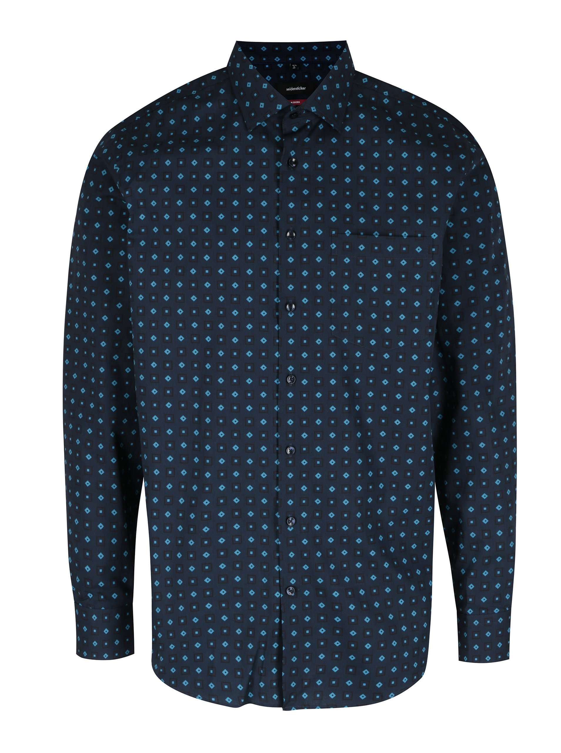 Tmavě modrá modern fit košile s kostkovaným vzorem Seidensticker