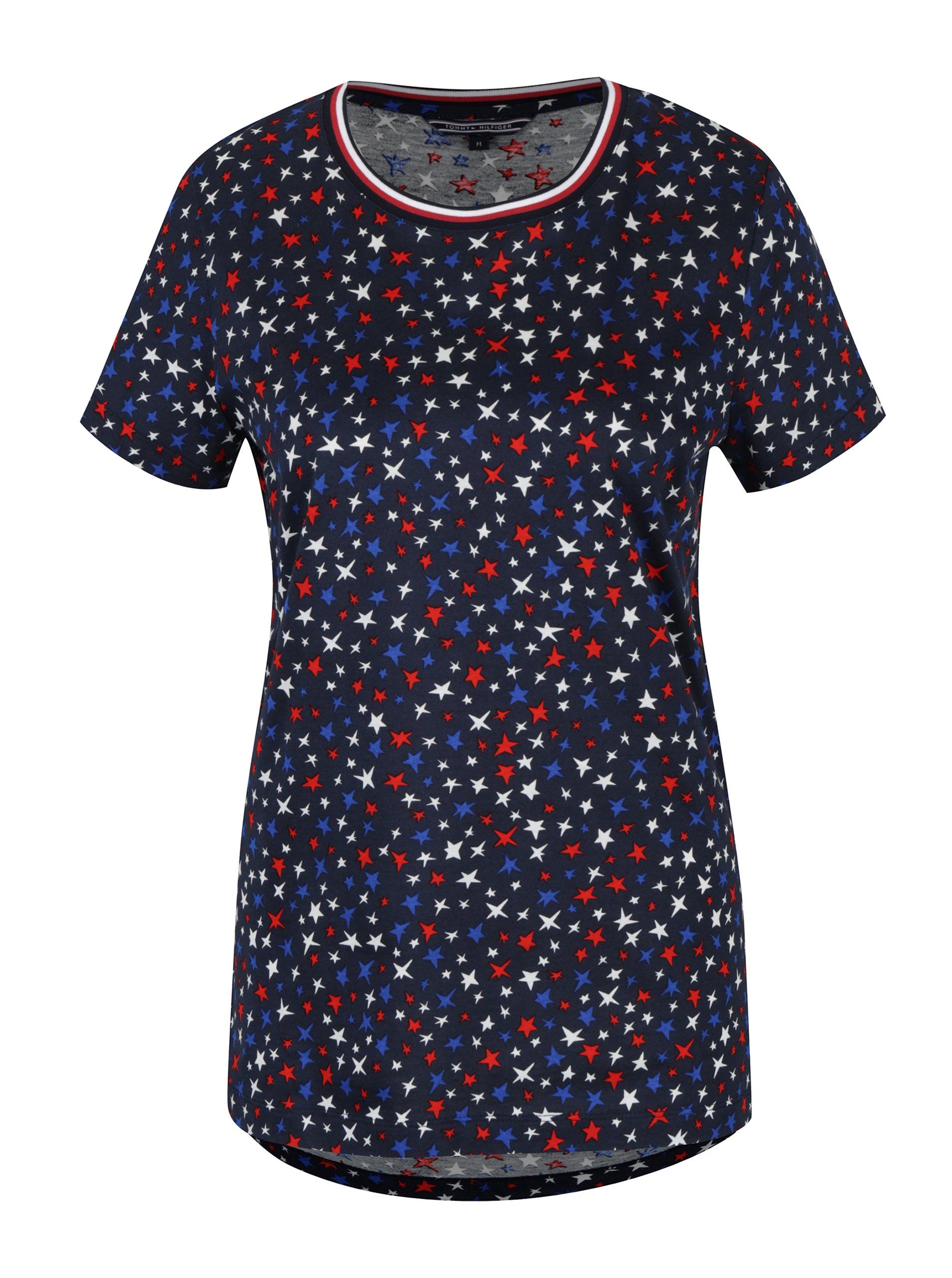 Tmavě modré dámské tričko s motivem hvězd Tommy Hilfiger