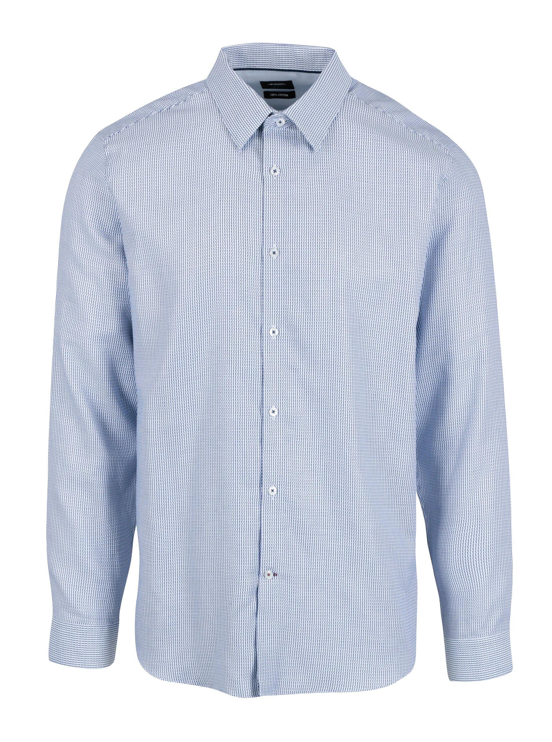 Bílo-modrá vzorovaná formální slim fit košile Burton Menswear London
