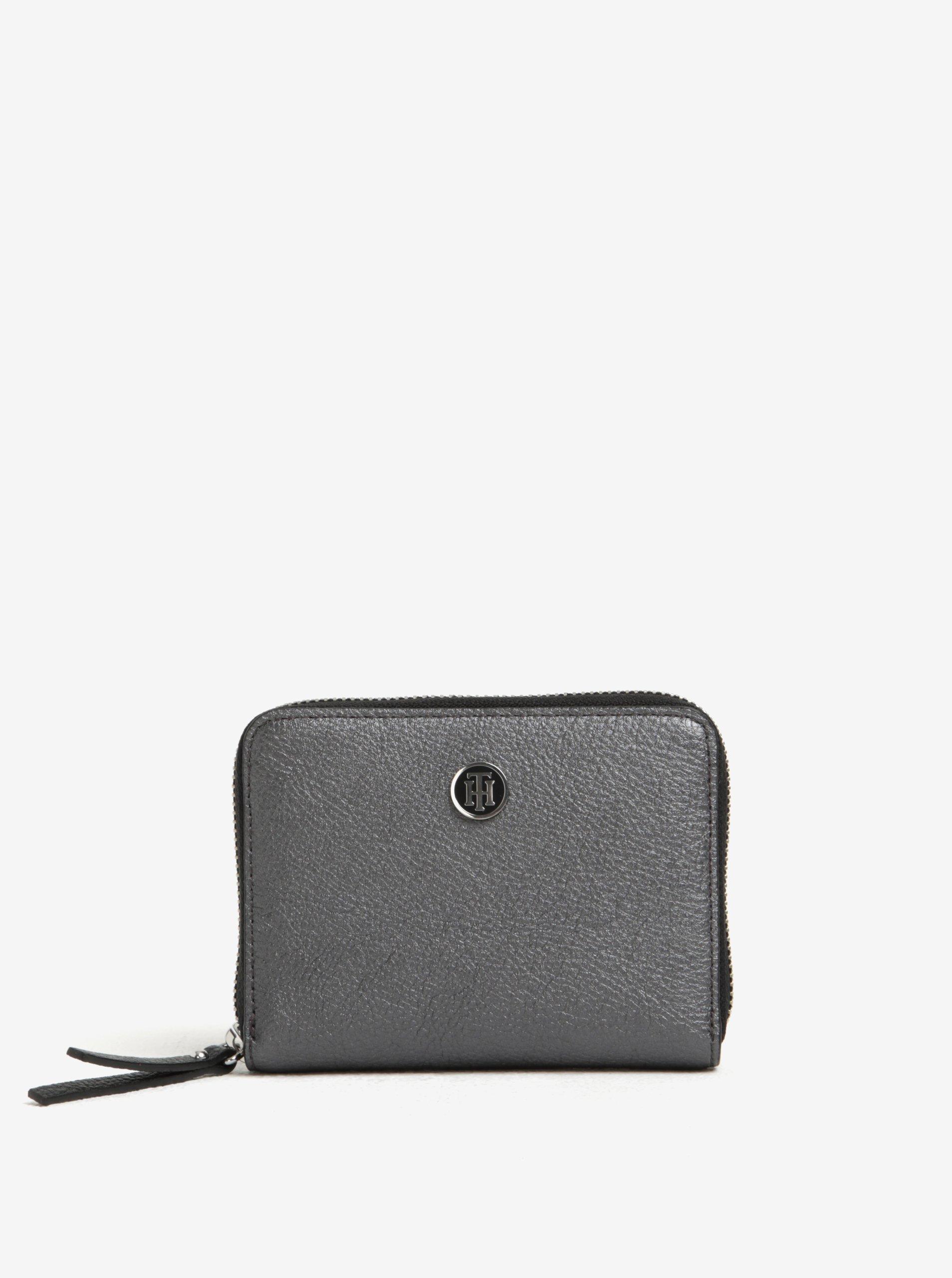 Tmavě šedá dámská metalická peněženka Tommy Hilfiger