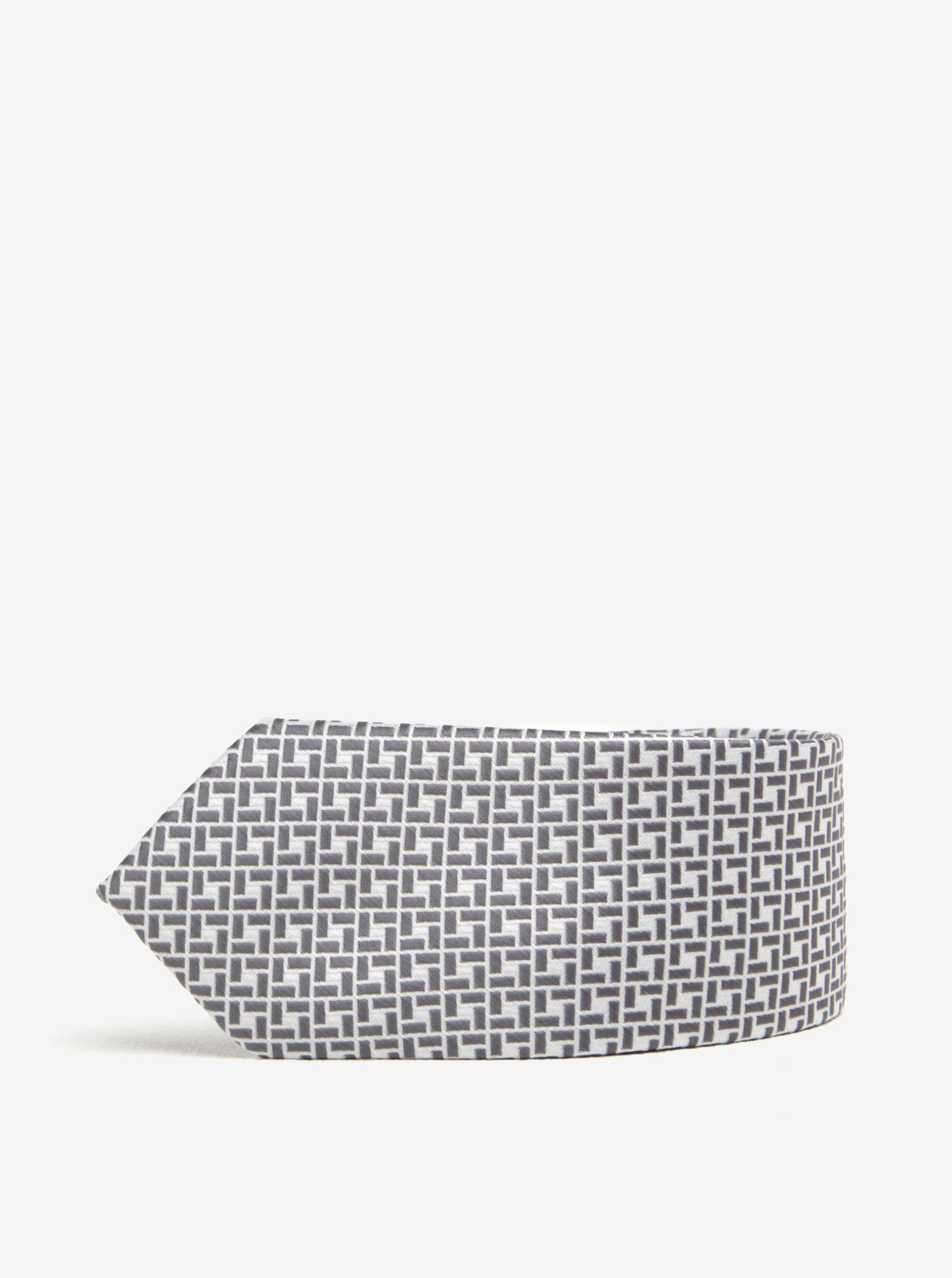 Bílo-šedá vzorovaná kravata Burton Menswear London