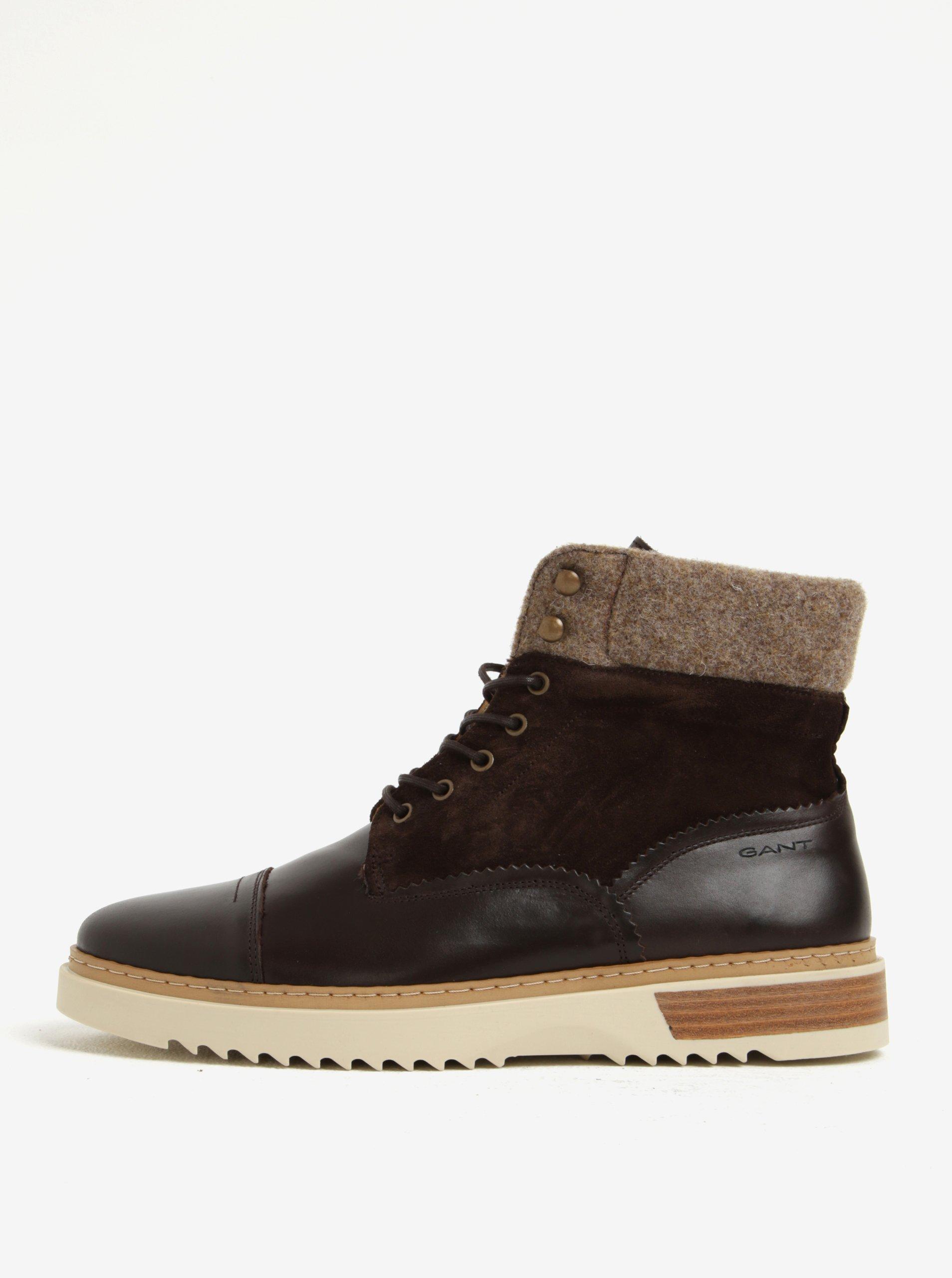 Tmavě hnědé pánské kožené kotníkové boty GANT Jean