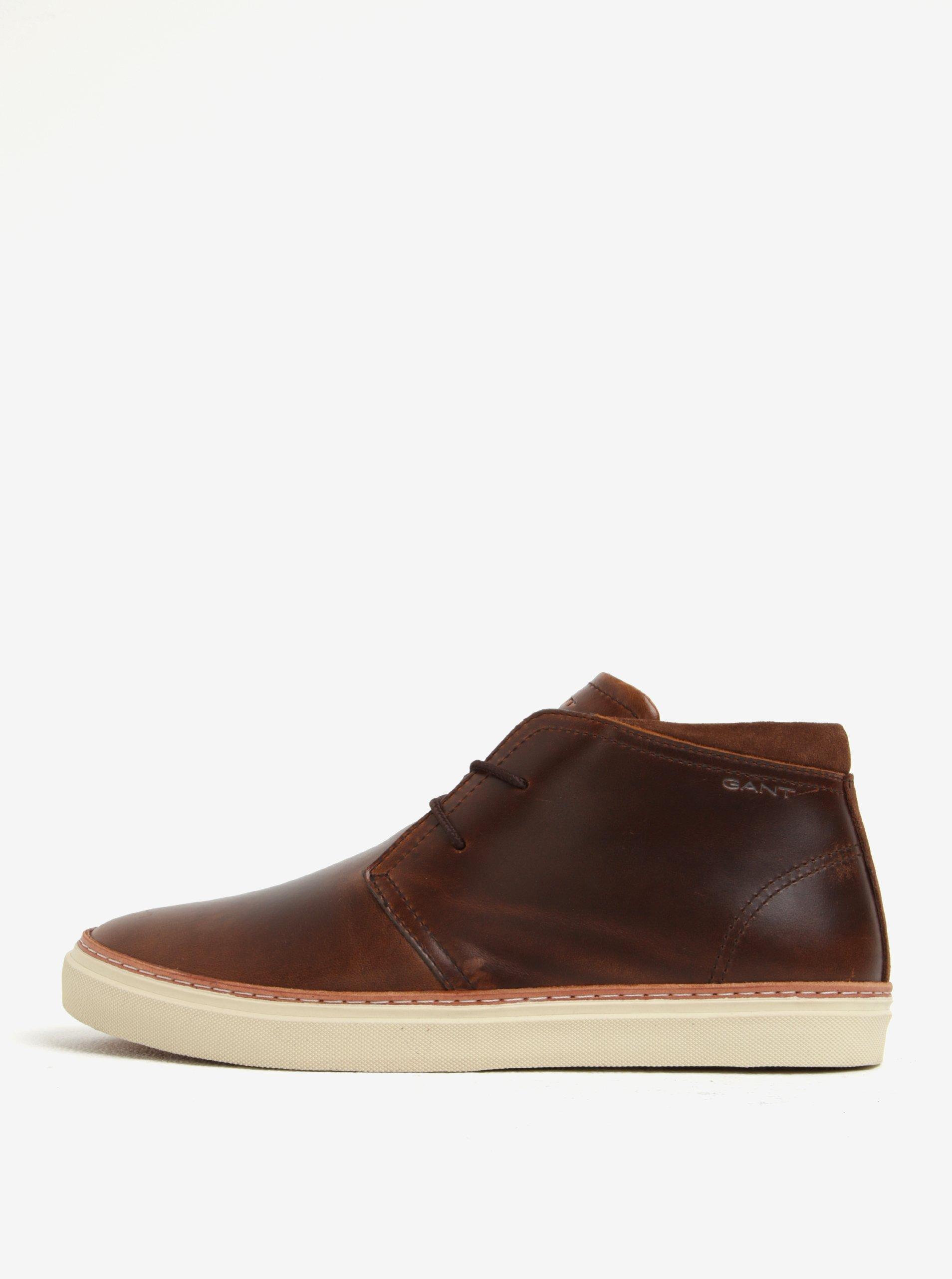 Hnědé pánské kožené kotníkové boty GANT Bari