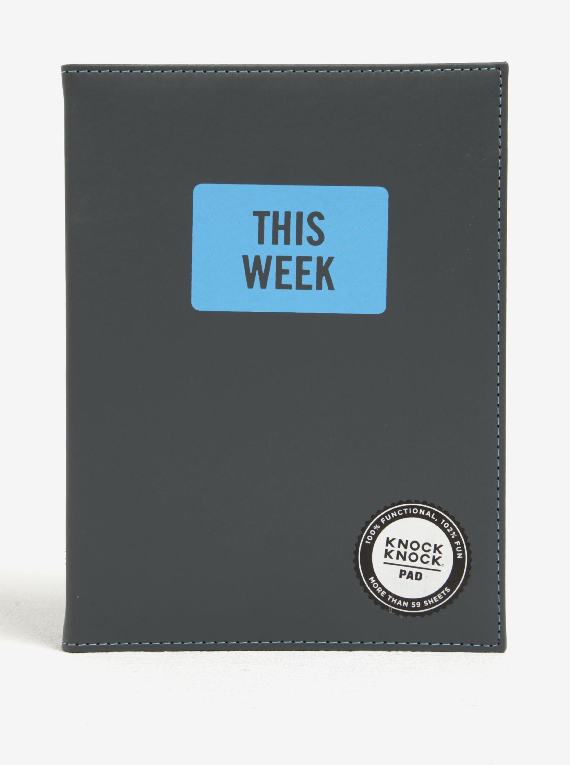 Šedý trhací plánovací blok v pevných deskách Knock Knock This Week