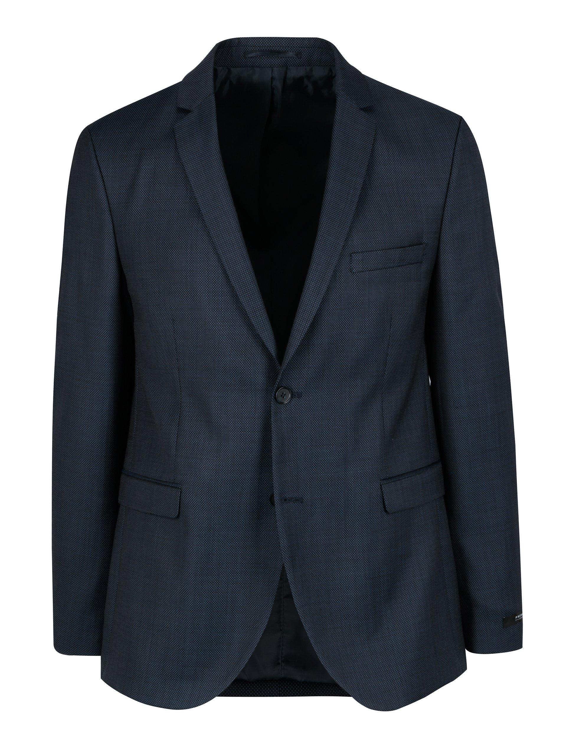 Tmavě modré oblekové slim sako Jack & Jones Premium Thom