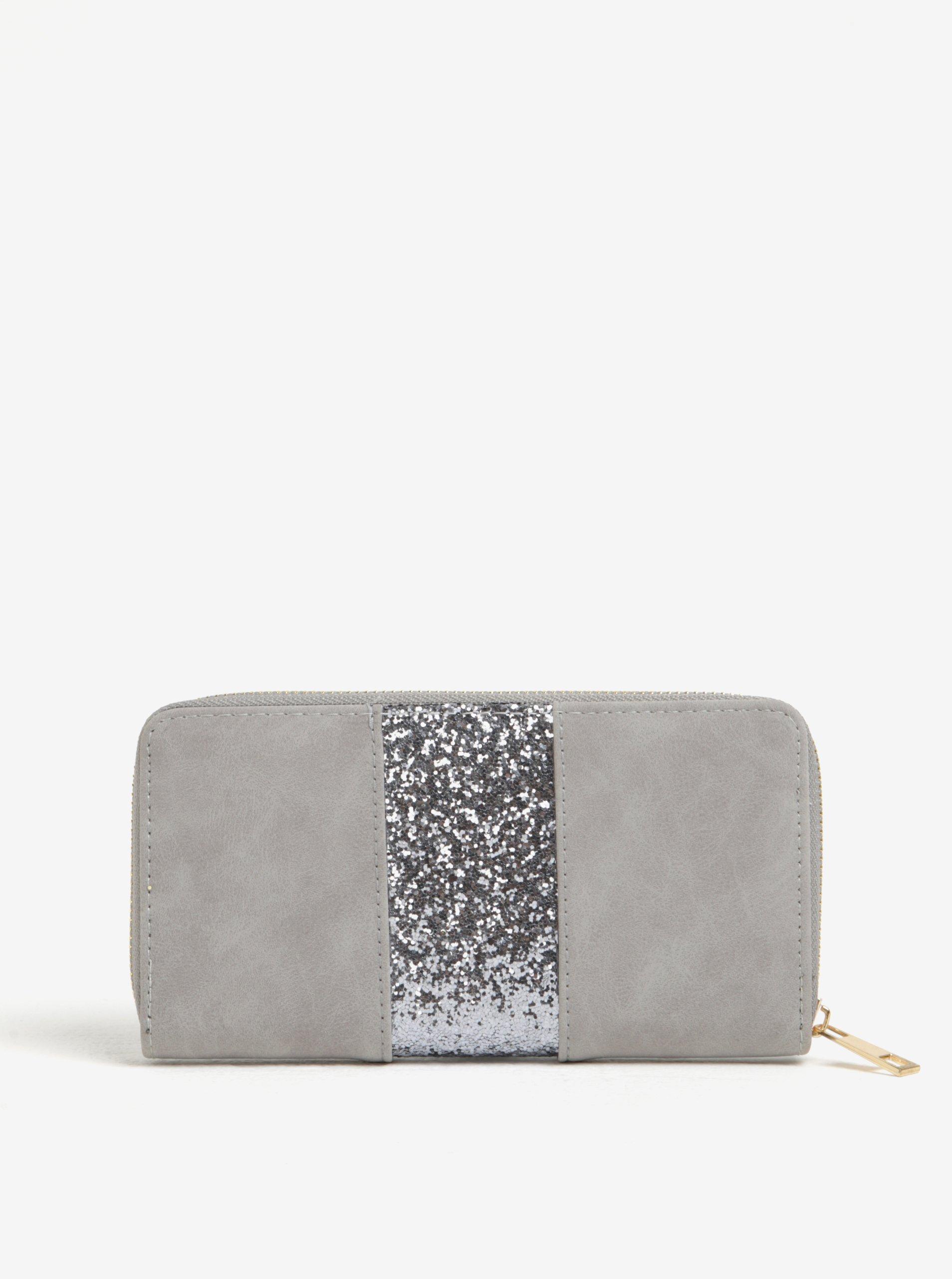 Šedá peněženka s třpytivým detailem Haily´s Lina