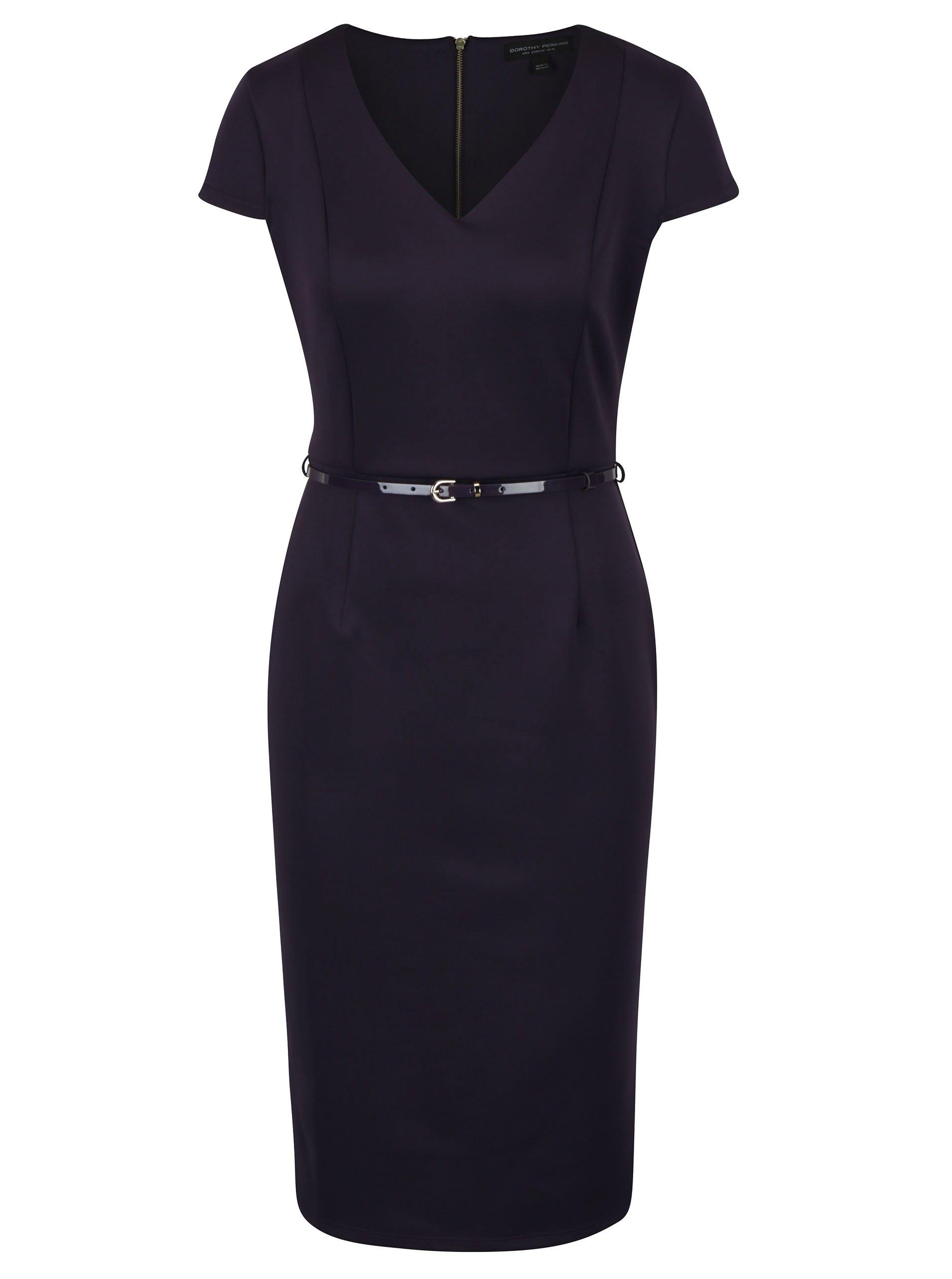Tmavě fialové pouzdrové šaty s páskem Dorothy Perkins