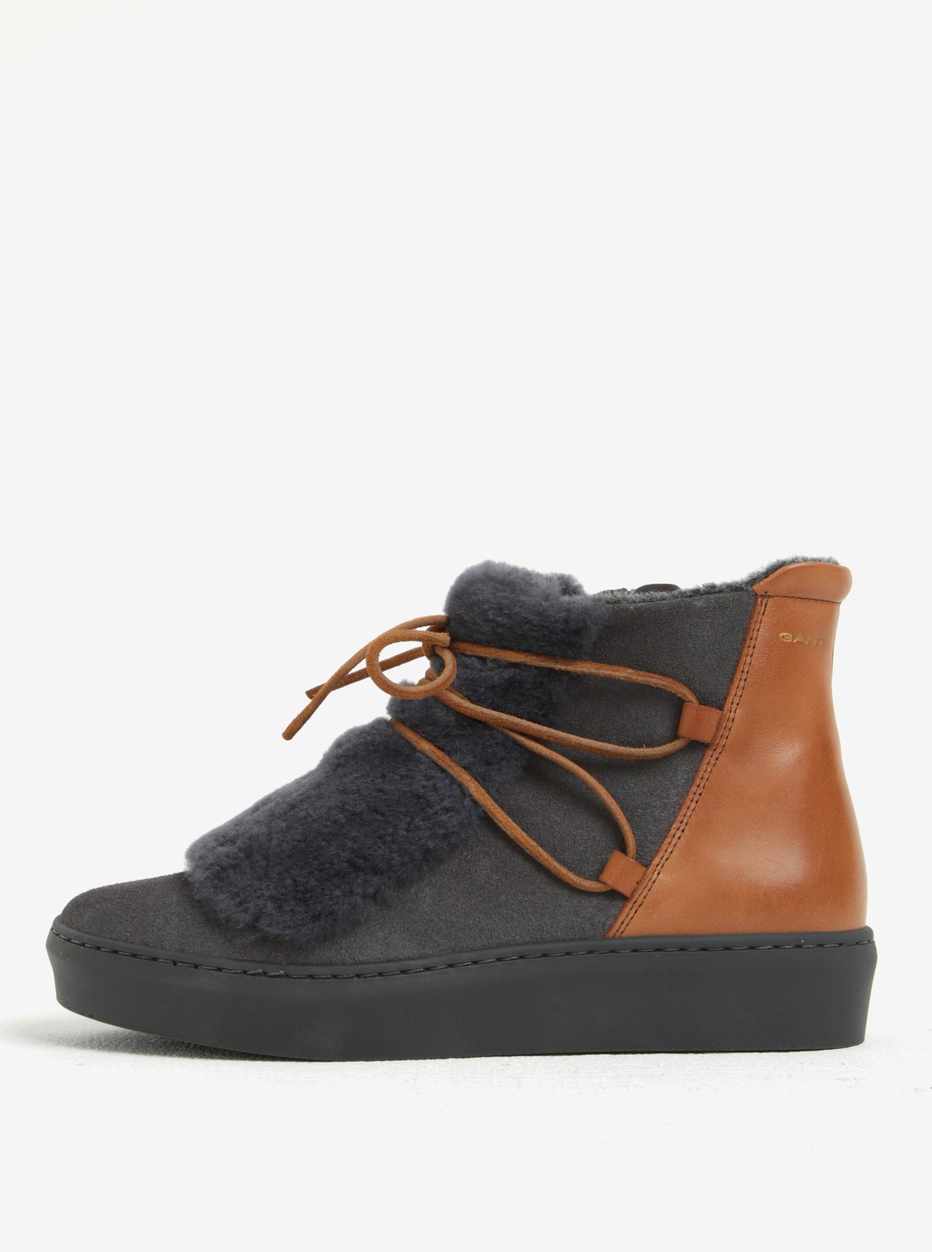 Hnědo-šedé dámské semišové zateplené kotníkové boty s kožíškem GANT Anne