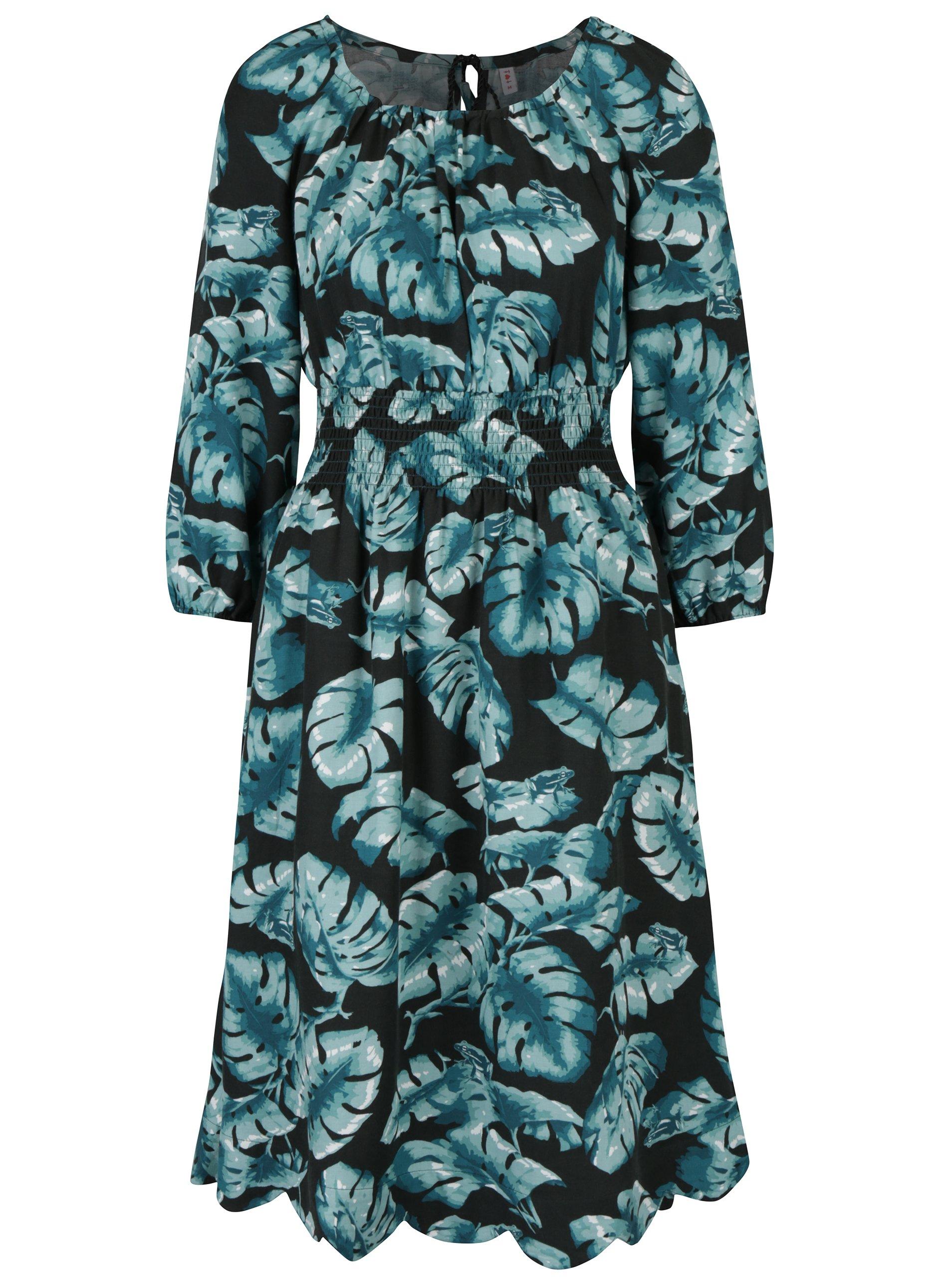 Čierno-zelené vzorované šaty s 3/4 rukávom Blutsgeschwister