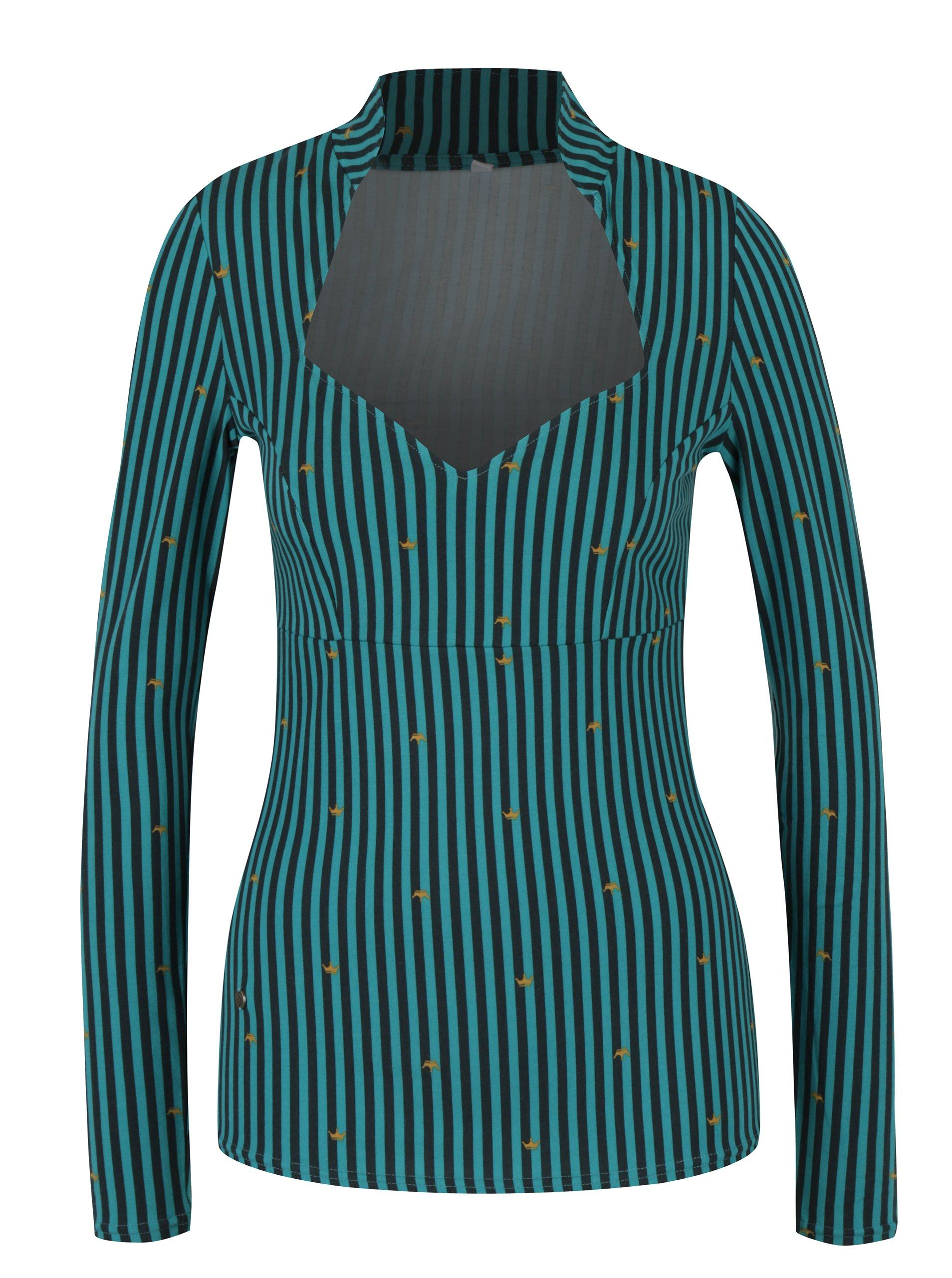 Černo-tyrkysové pruhované tričko s motivem koruny Blutsgeschwister