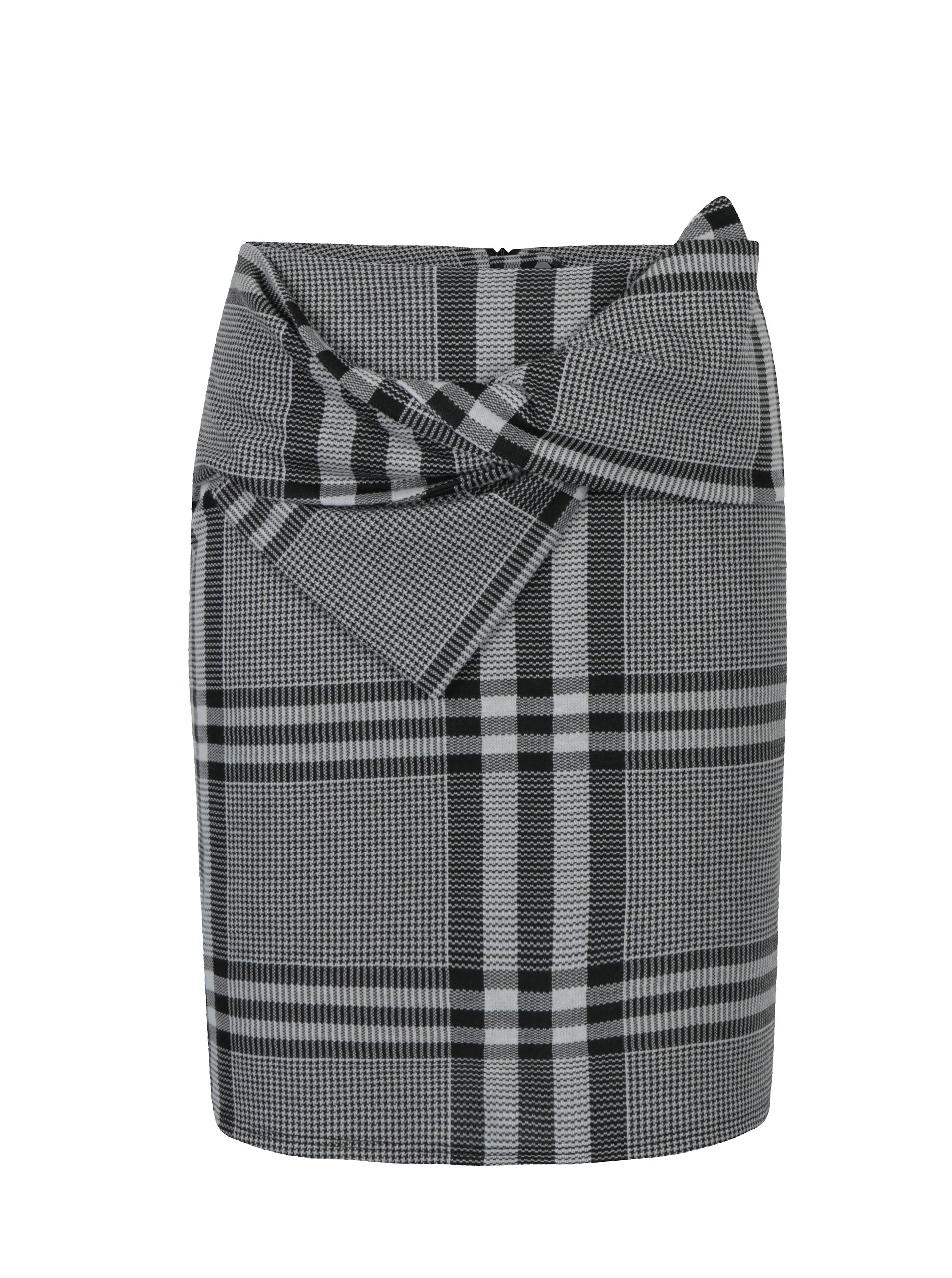 Černo-bílá kostkovaná sukně s uzlem Dorothy Perkins