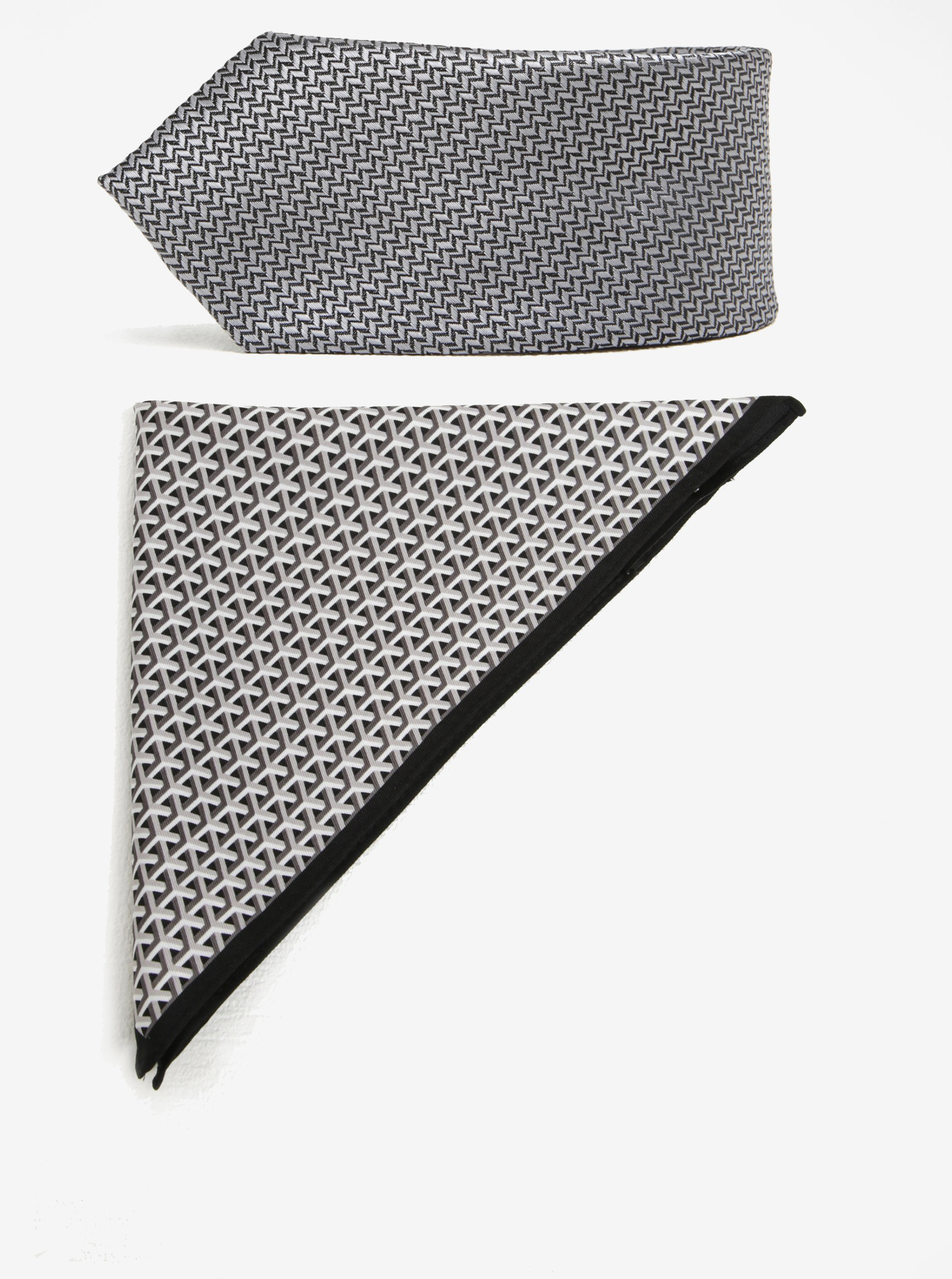 Černo-šedý vzorovaný set kravaty a kapesníčku Burton Menswear London