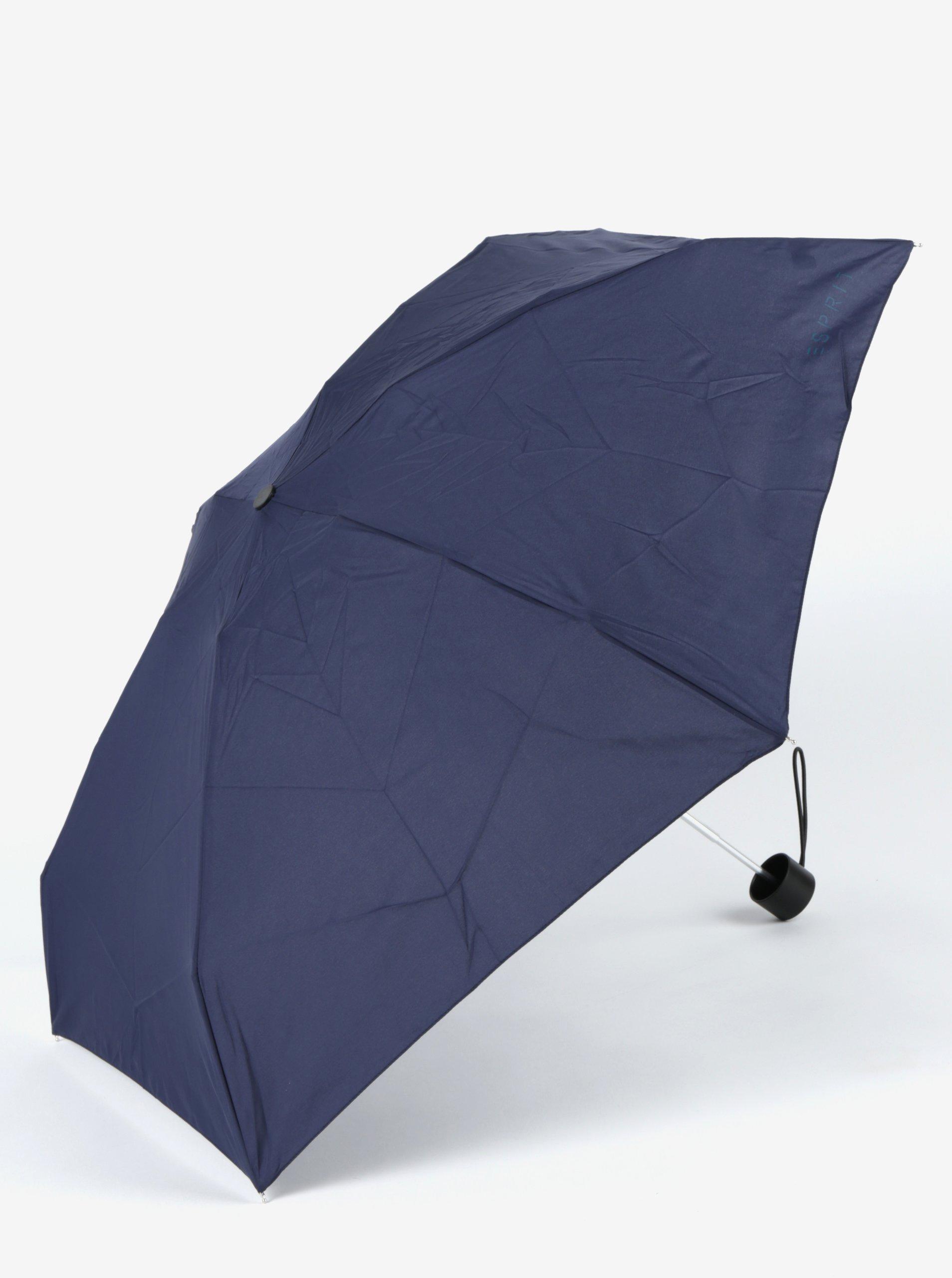 Tmavě modrý dámský skládací deštník Esprit