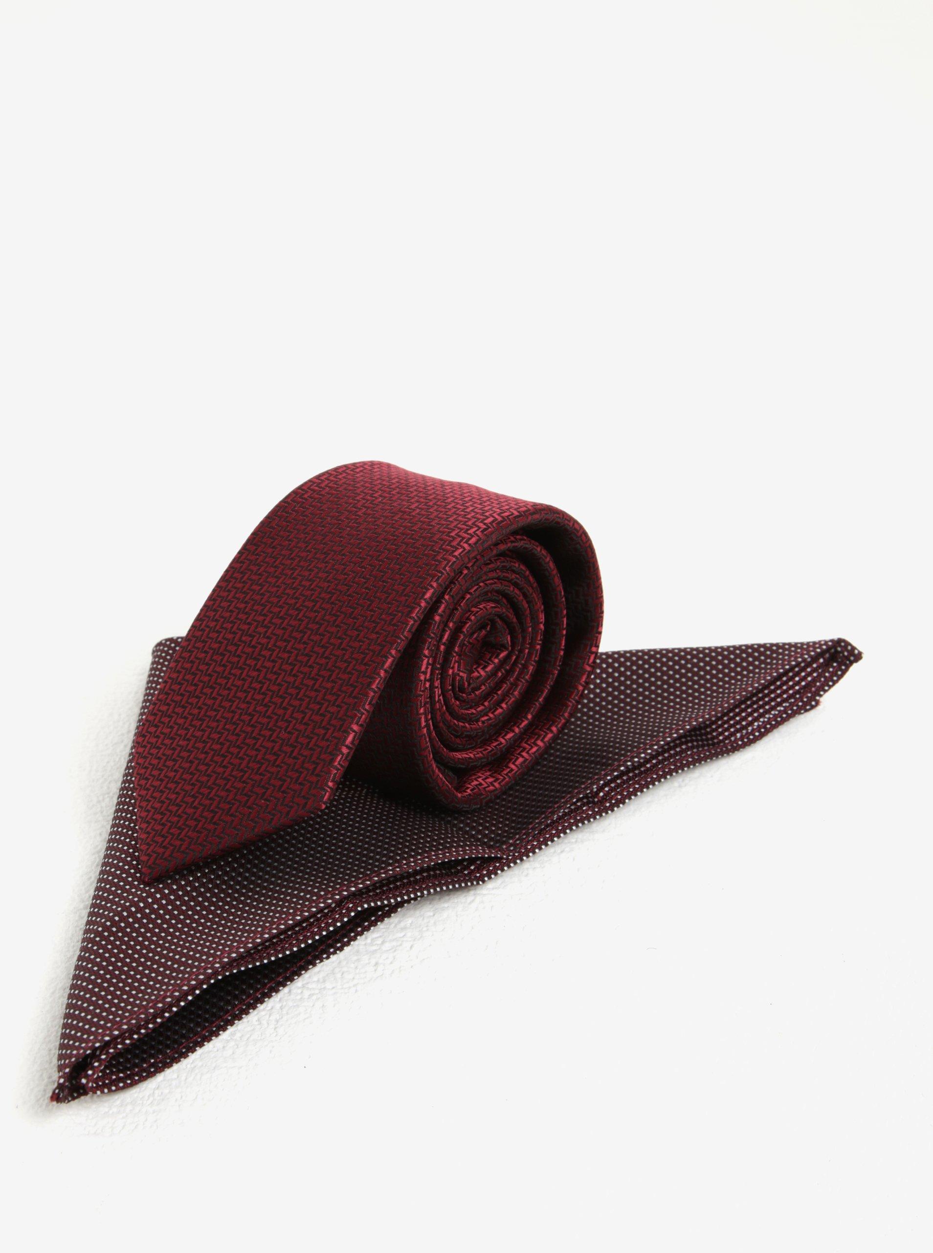 Červený vzorovaný set kravaty a kapesníčku Burton Menswear London