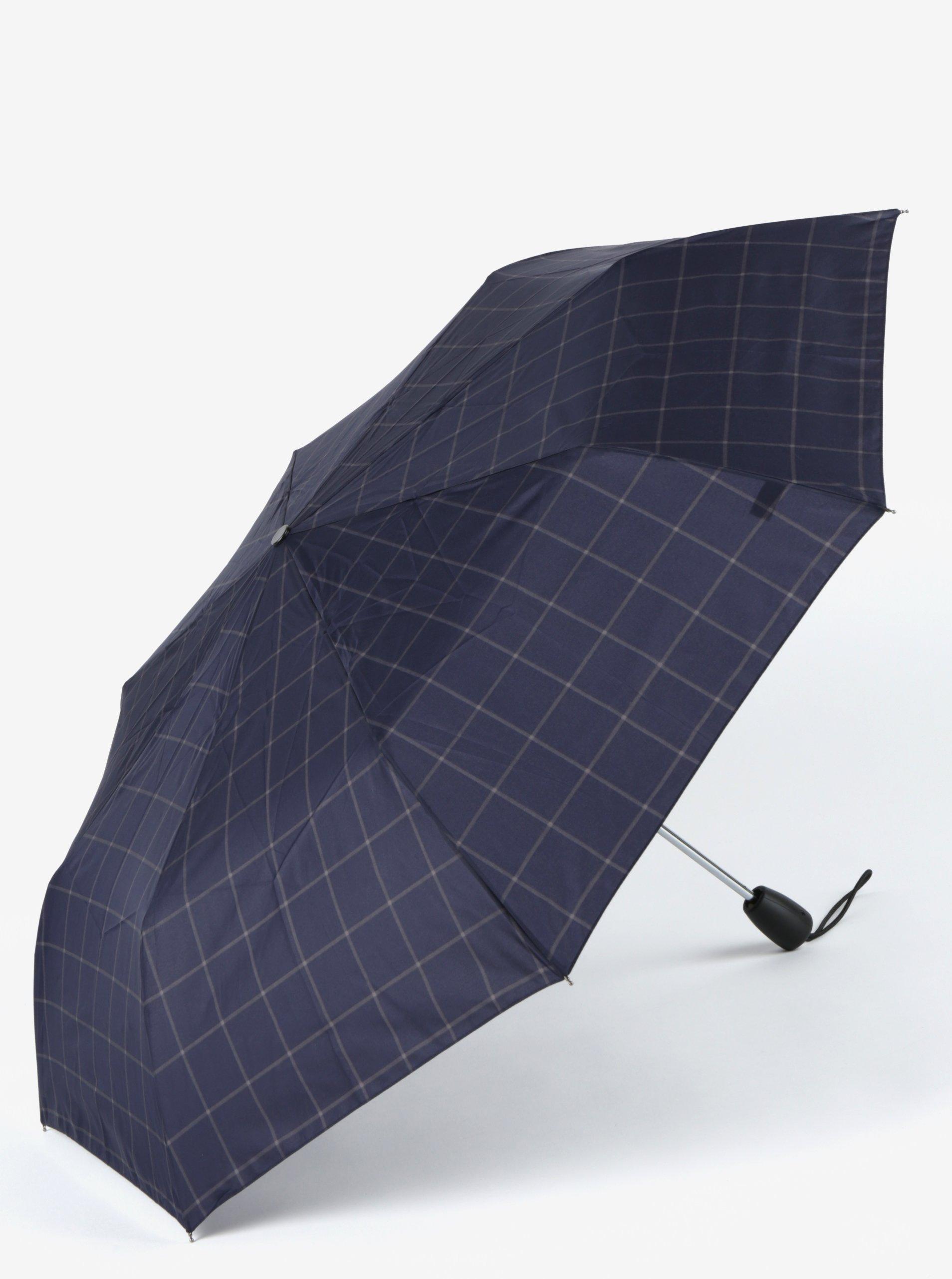 Tmavě modrý kostkovaný skládací vystřelovací deštník Esprit