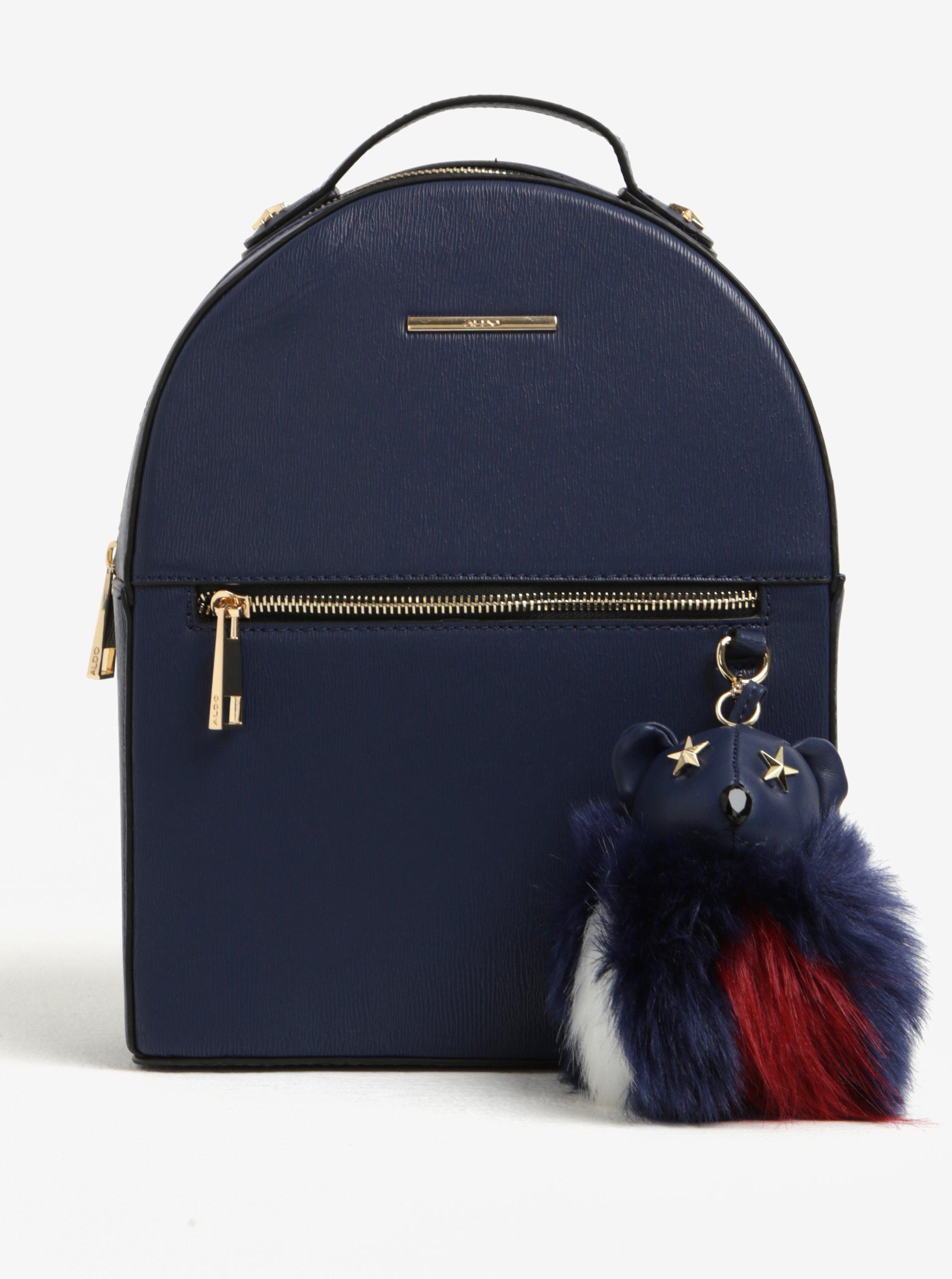 Tmavě modrý dámský malý batoh ALDO s přívěškem Adraolia