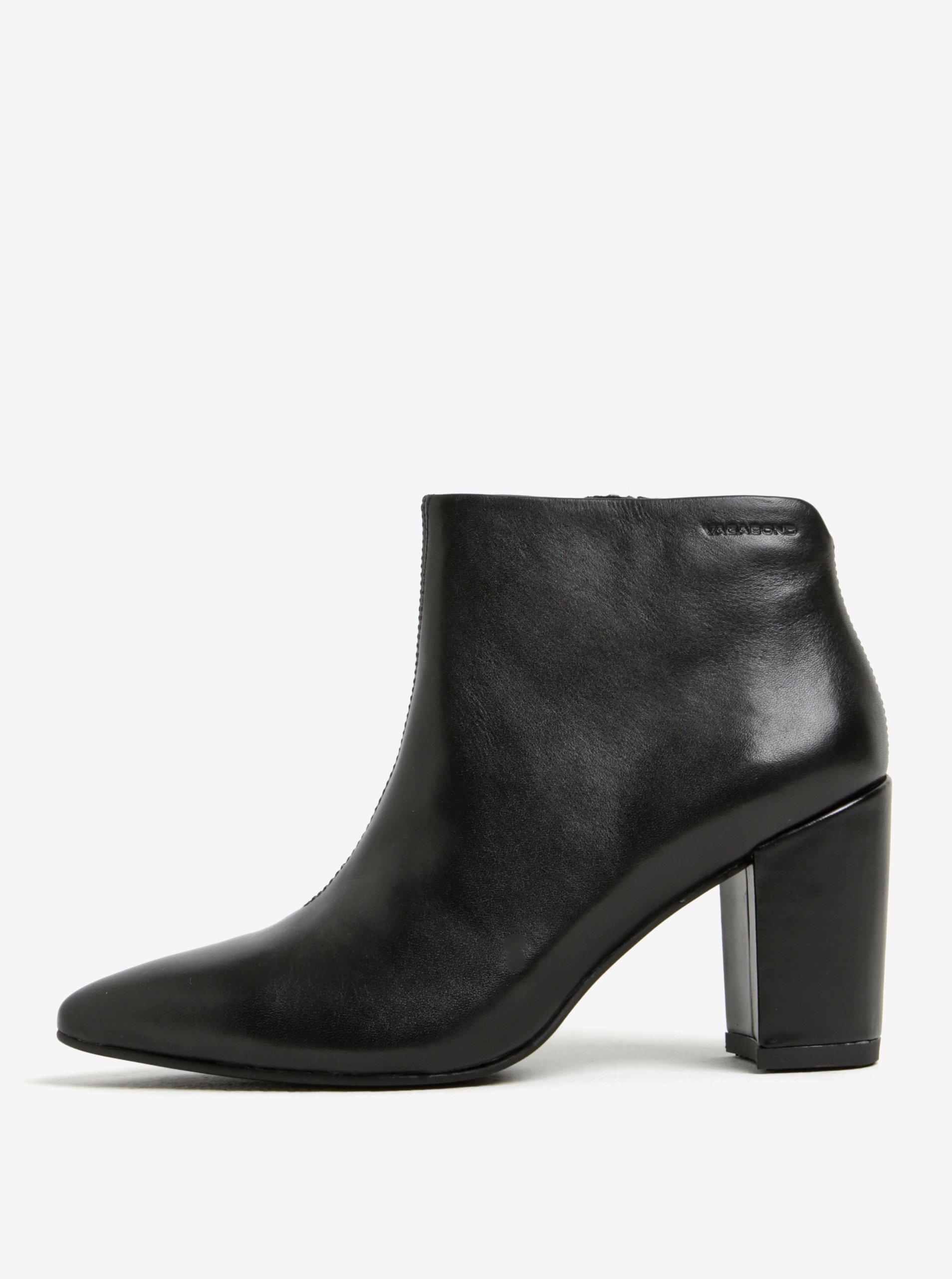 Černé dámské kožené kotníkové boty Vagabond Saida