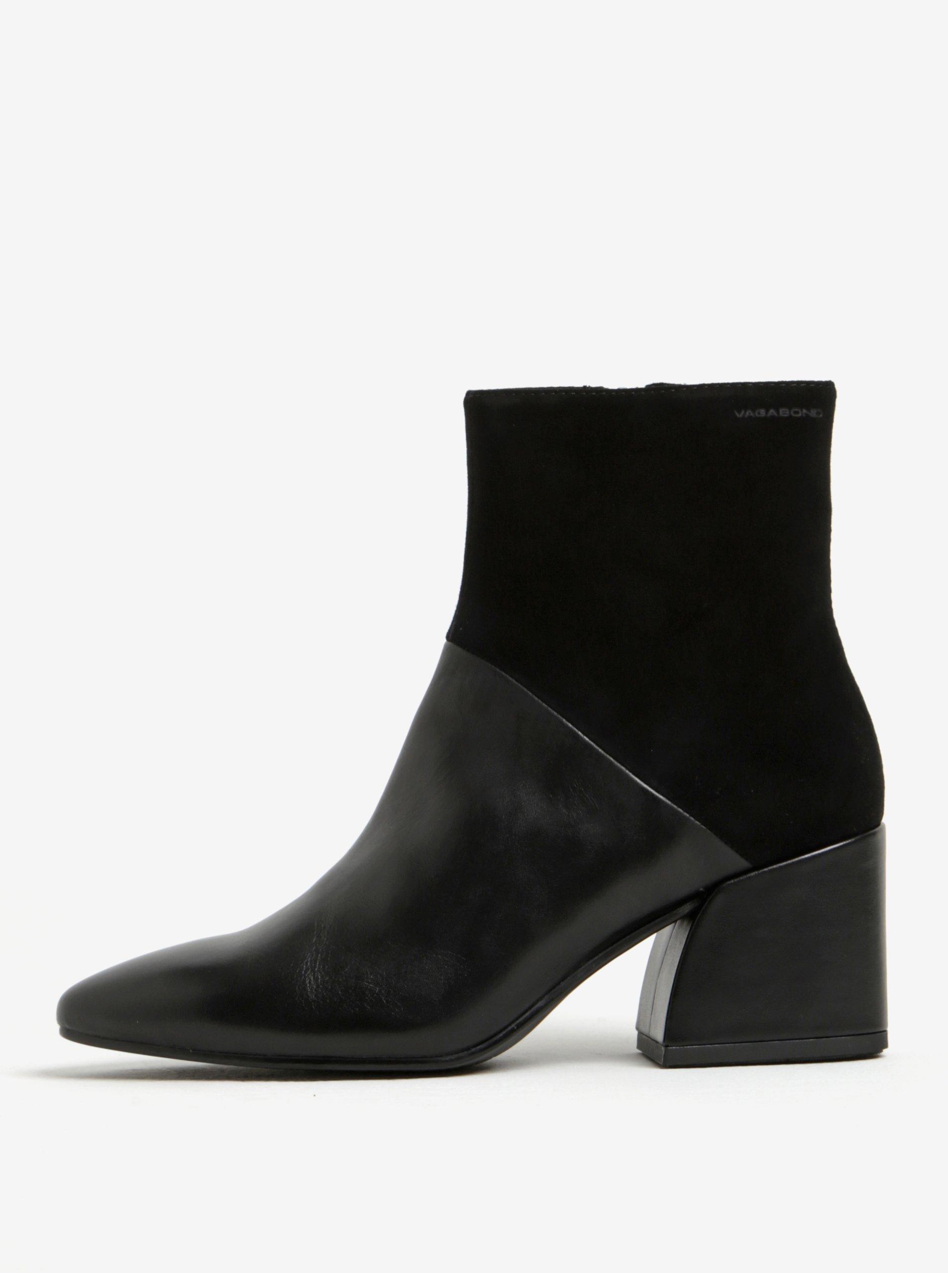 Černé dámské kožené kotníkové boty Vagabond Olivia