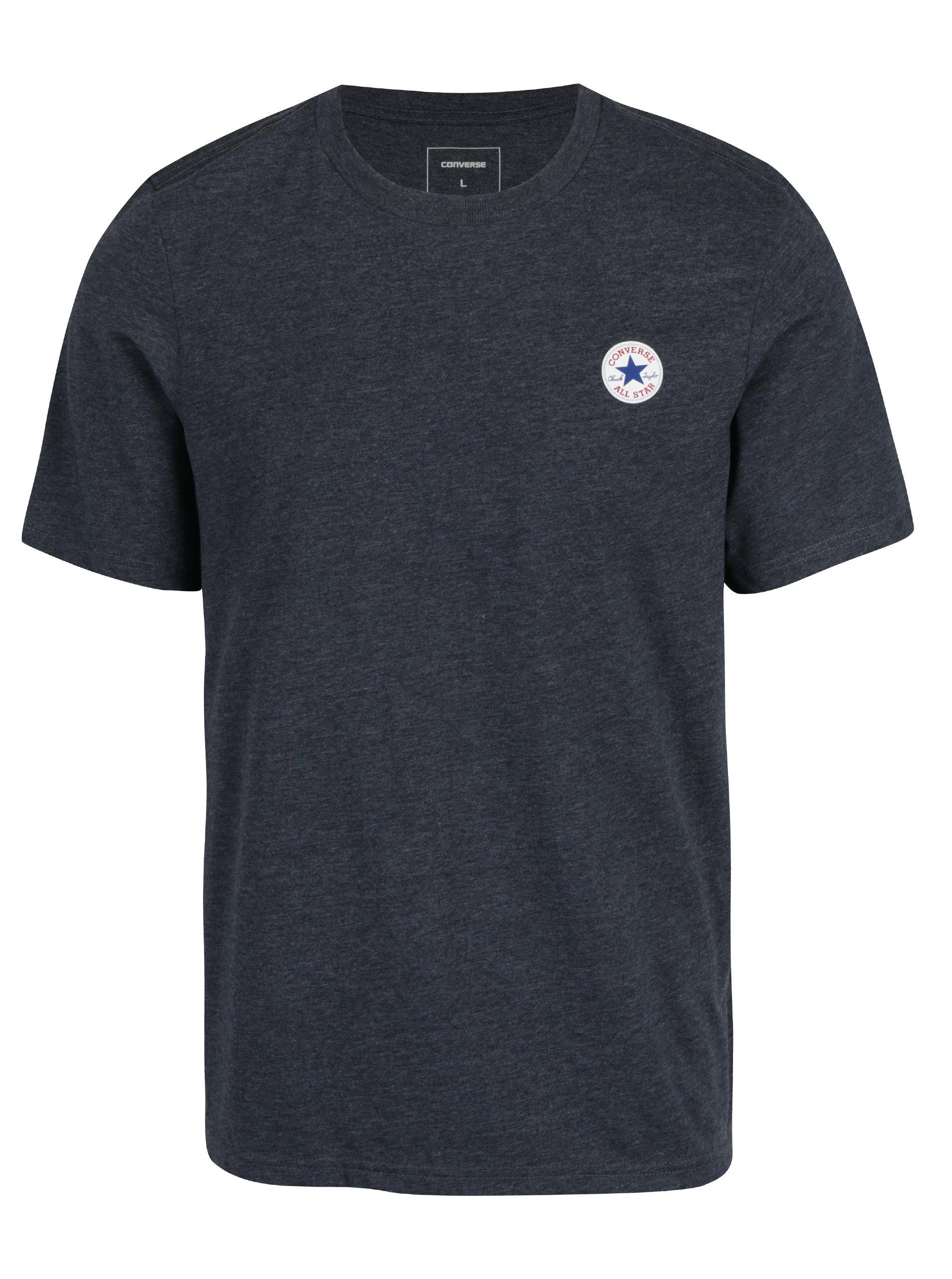 Tmavě šedé pánské žíhané tričko Converse Core Left Chest