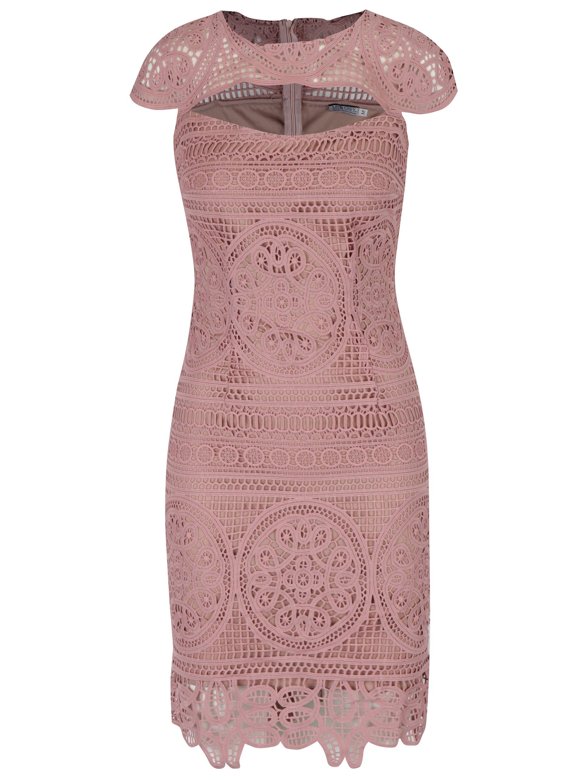 Starorůžové krajkové pouzdrové šaty Miss Grey Nadia