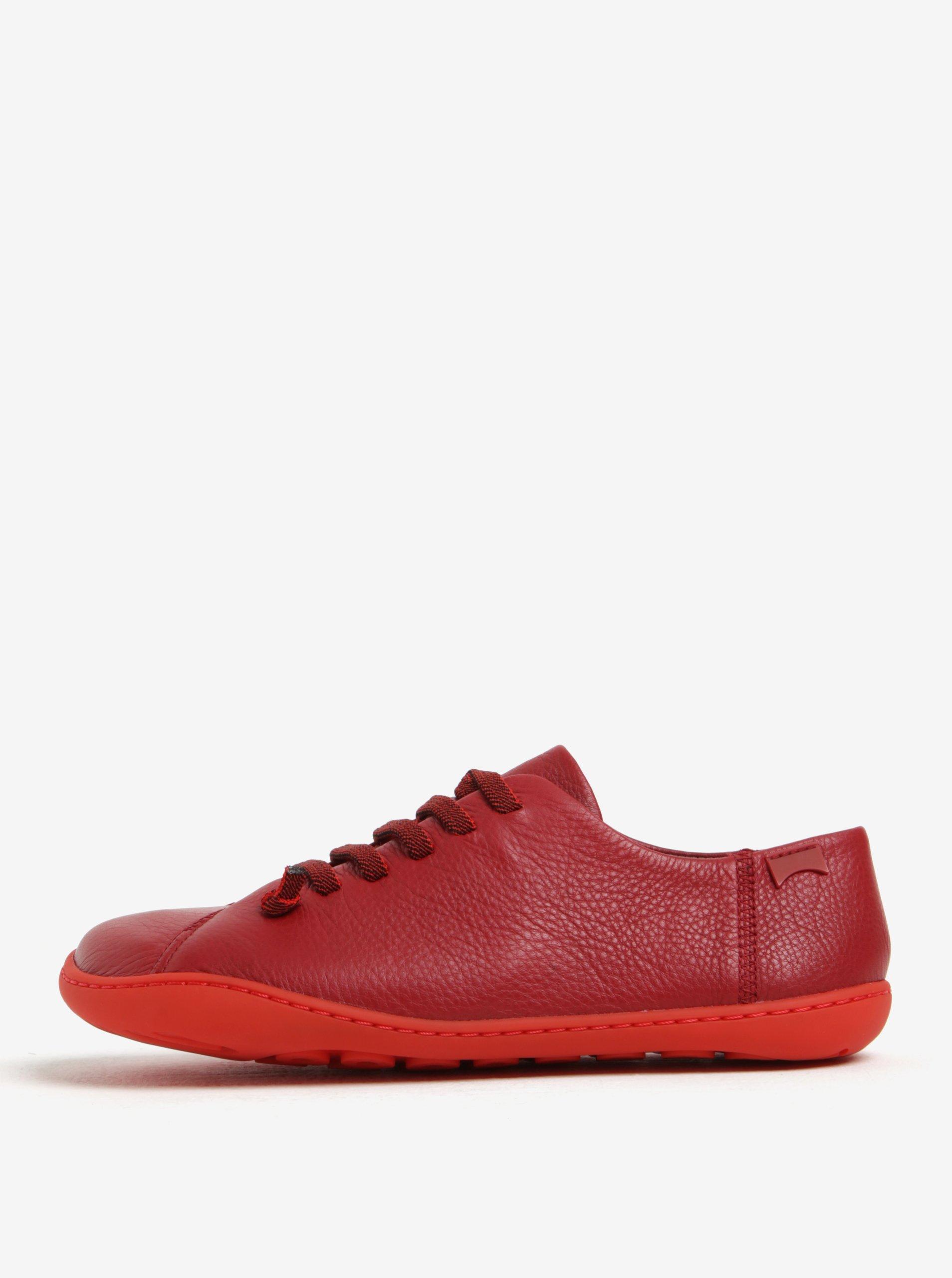 Červené dámské kožené nízké tenisky Camper