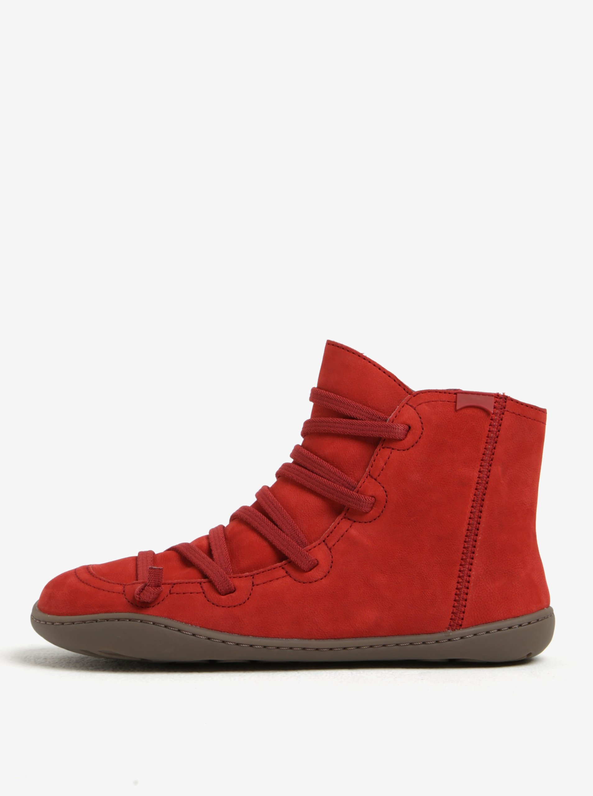 Červené dámské kožené kotníkové boty se šněrováním Camper