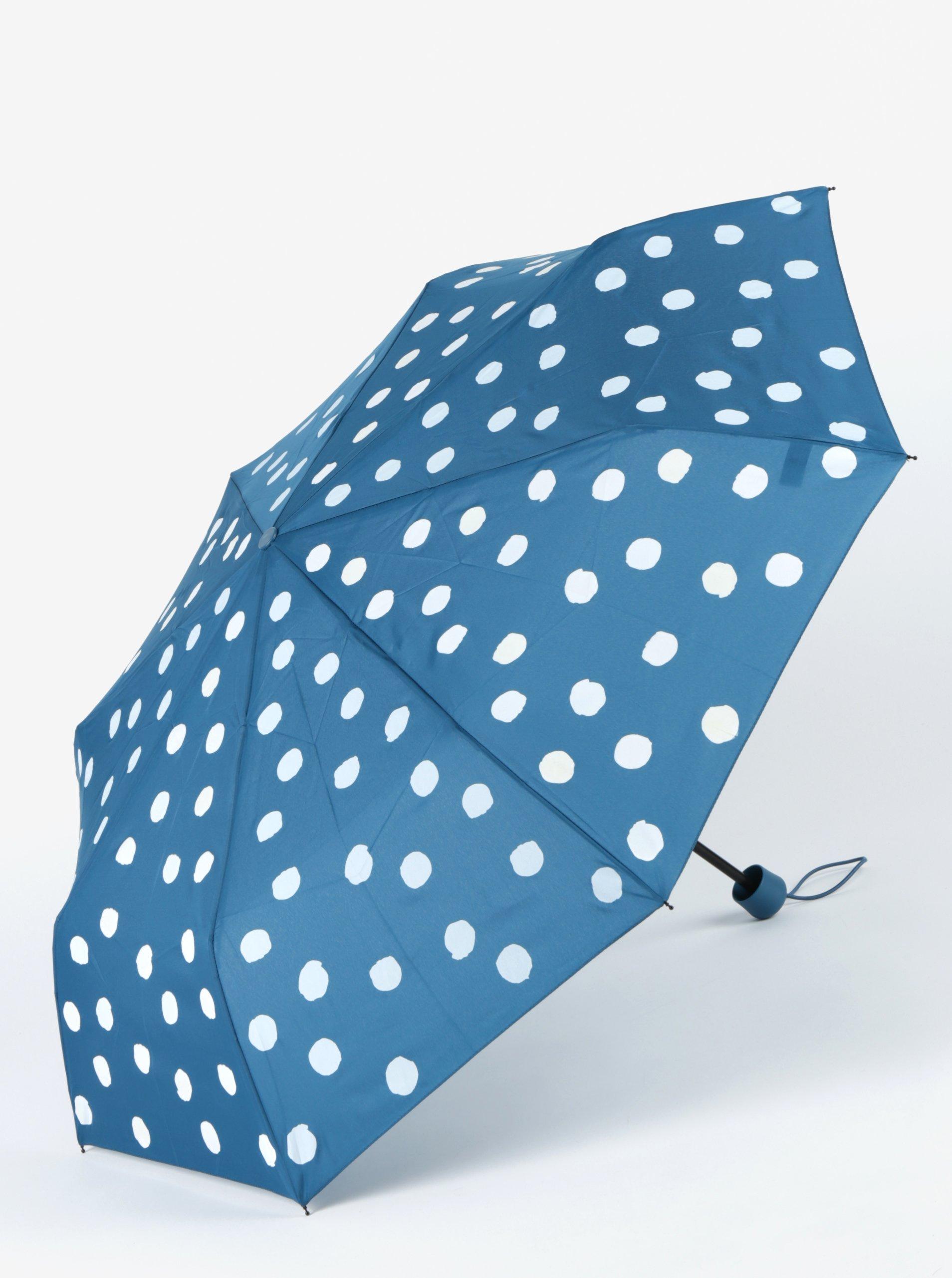 Petrolejový dámský skládací deštník s kouzelnými puntíky Esprit