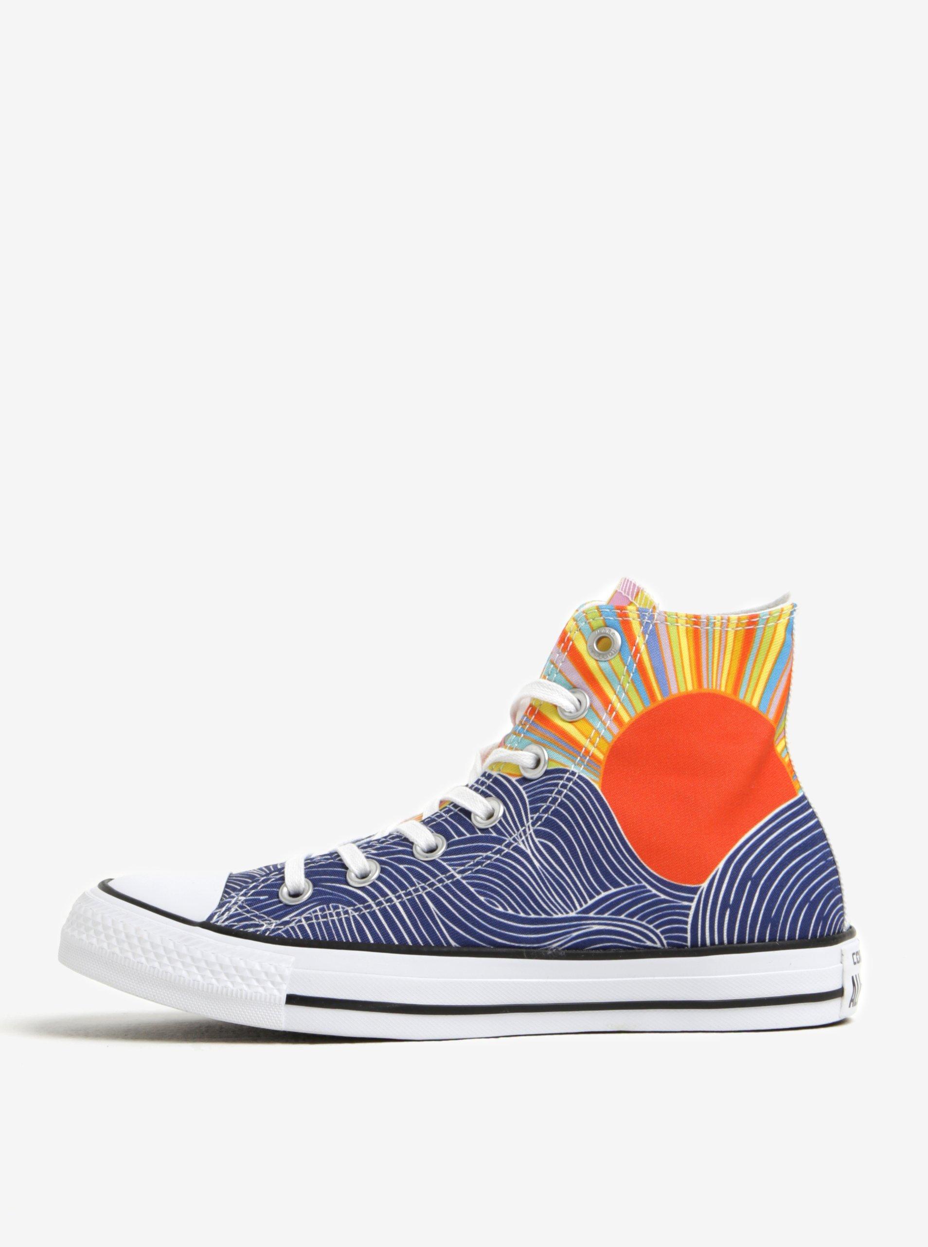 Modro-bílé vzorované dámské kotníkové tenisky Converse Chuck Taylor All Star