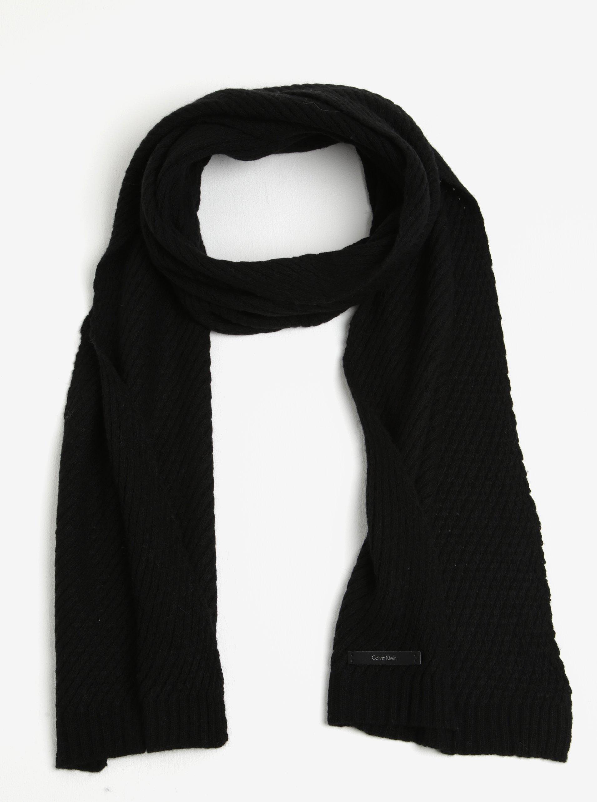 Černá dámská vlněná šála Calvin Klein Twist a32b895b4f