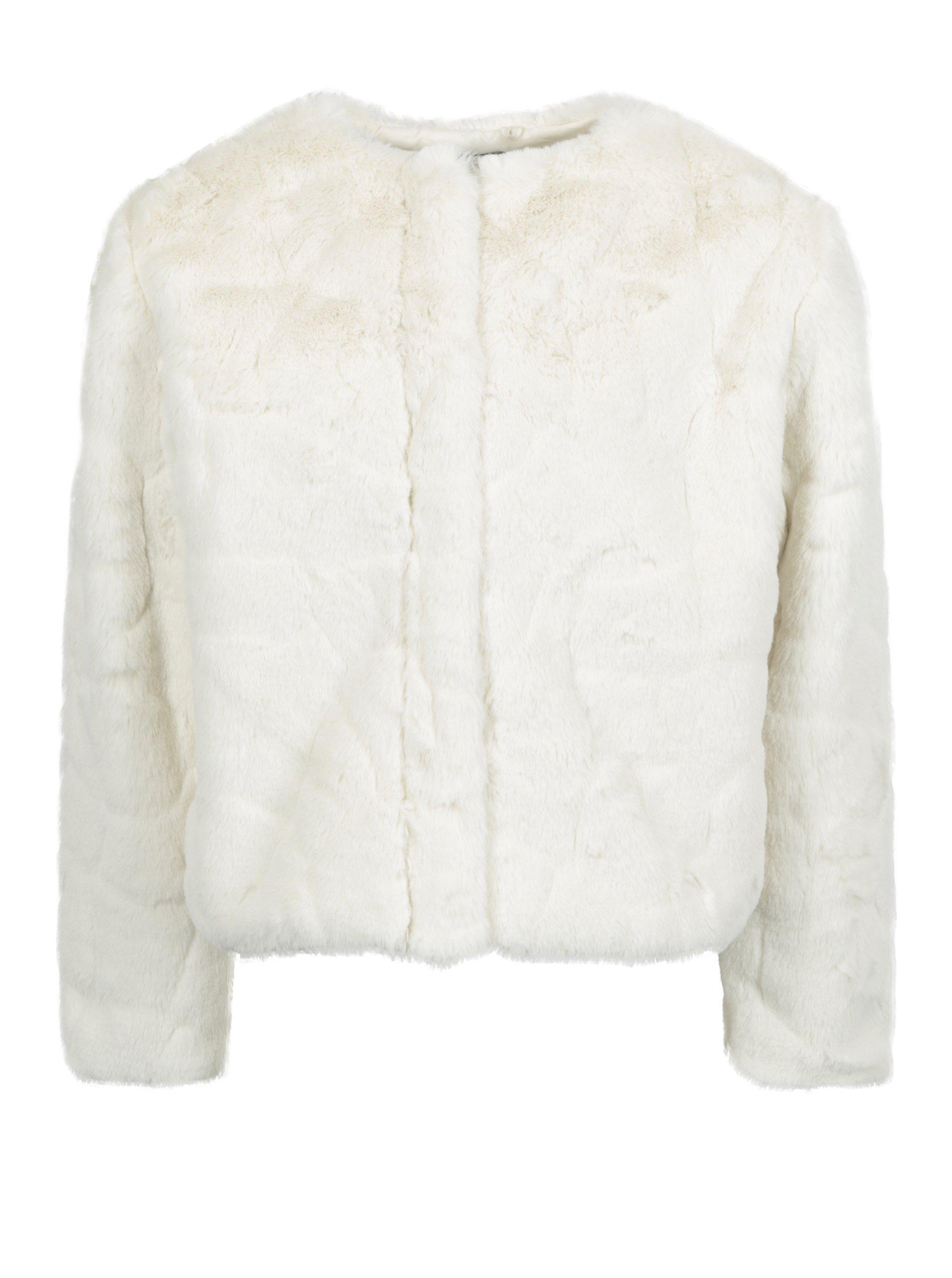 Krémový  kabát z umělé kožešiny Name it Wamma